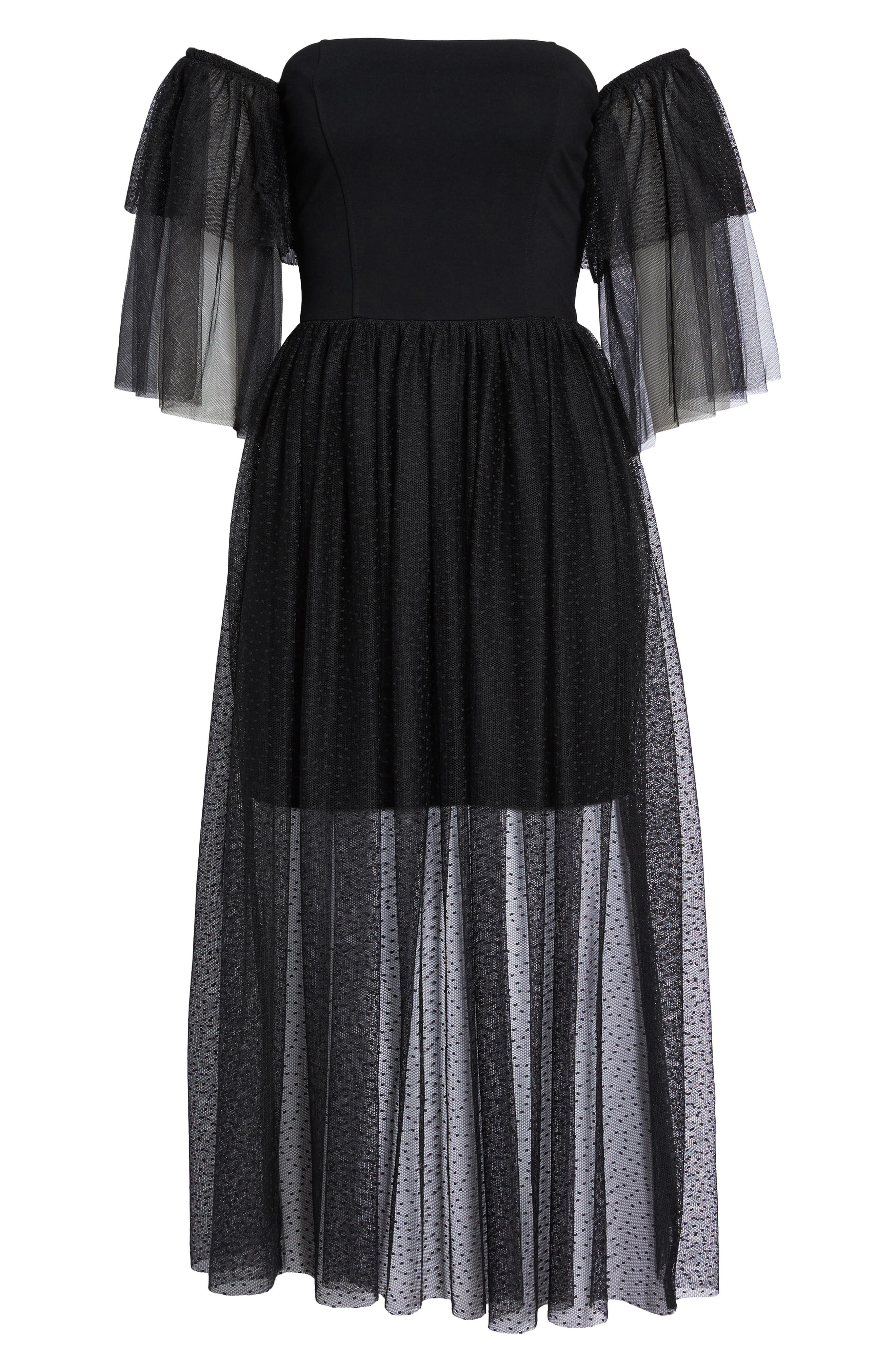 Valentin Off the Shoulder Midi Dress,                             Alternate thumbnail 6, color,                             001