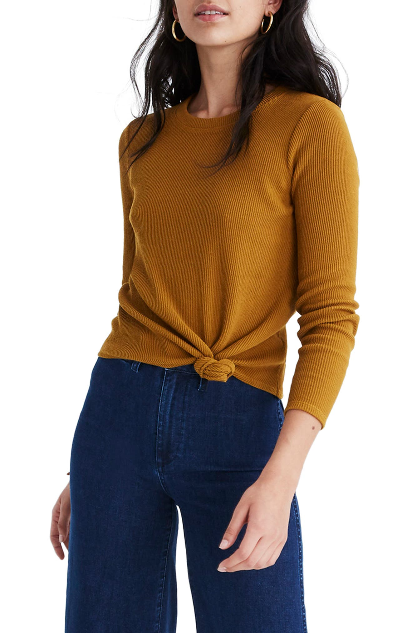 MADEWELL Texture & Thread Front Knot Jacquard Top, Main, color, EGYPTIAN GOLD