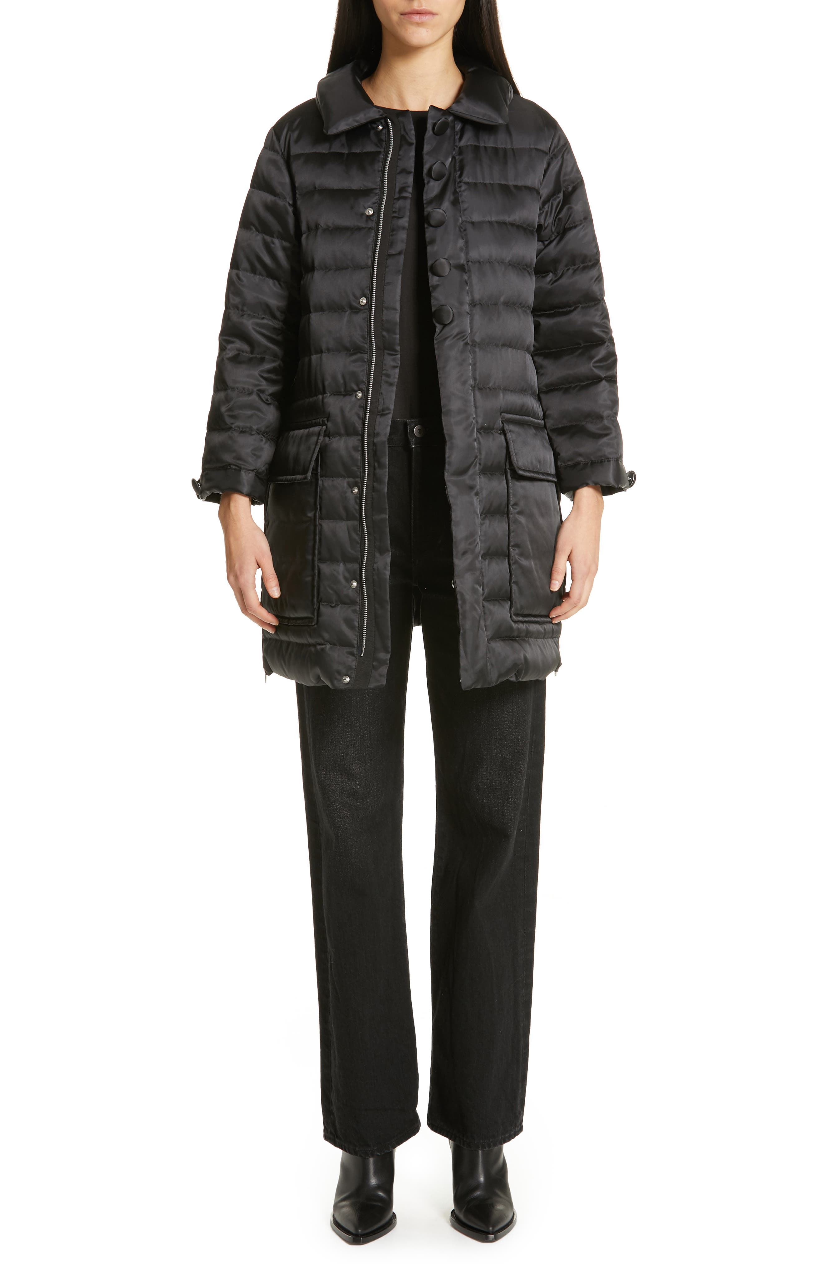 Quilted Down Coat,                             Alternate thumbnail 7, color,                             BLACK