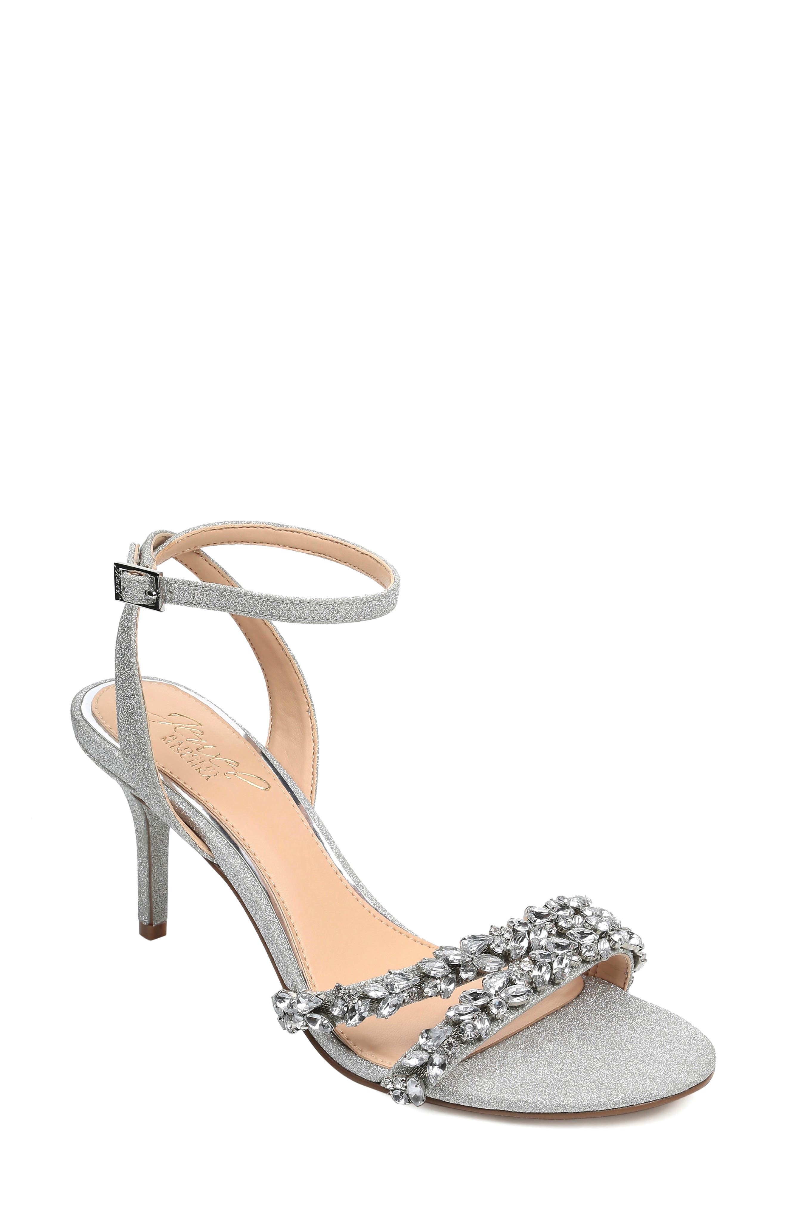 Jewel Badley Mischka Jarrel Ankle Strap Sandal, Metallic