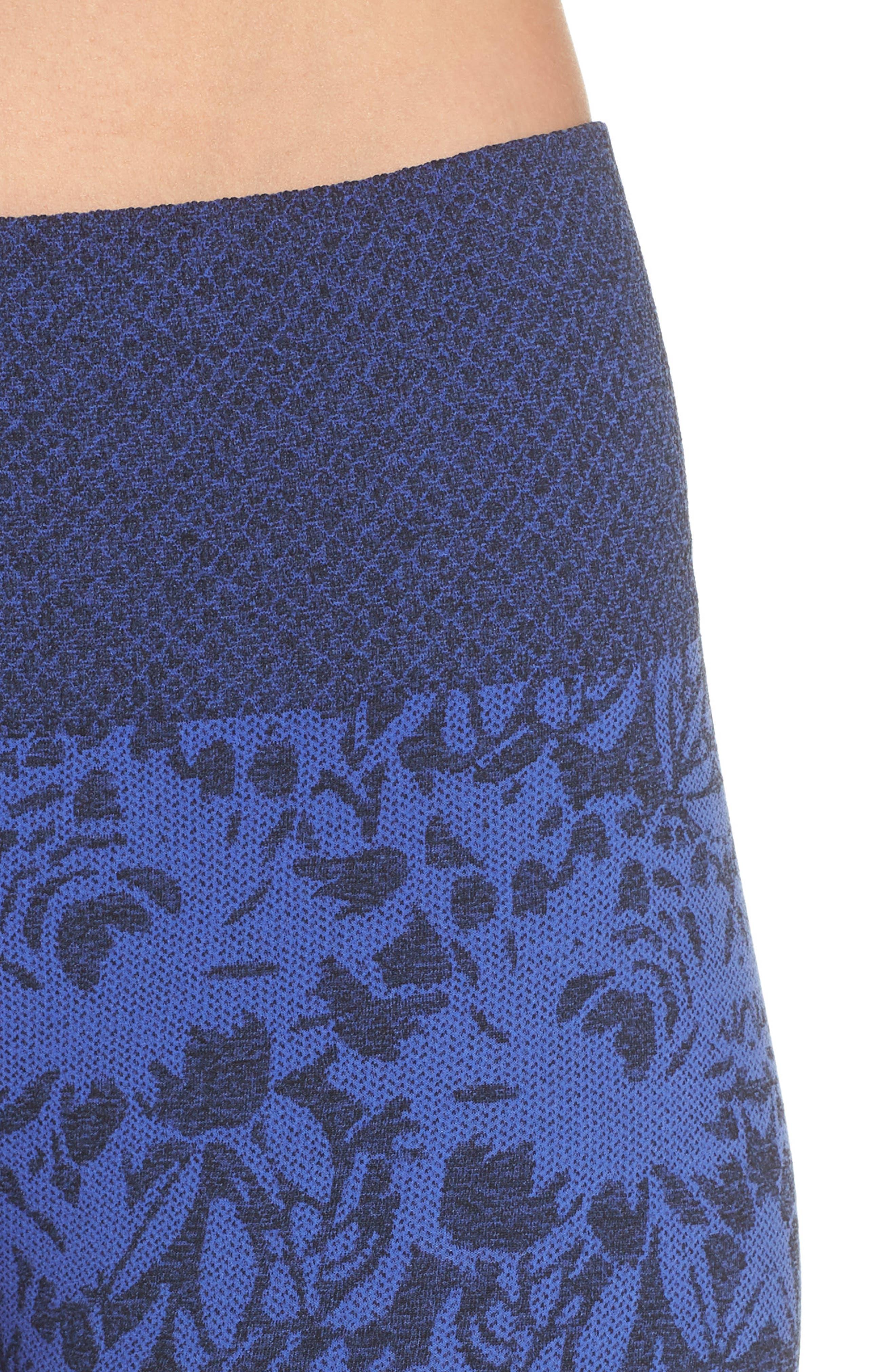 Pathway Capri Leggings,                             Alternate thumbnail 4, color,                             AMPARO BLUE/ BLACK MELANGE