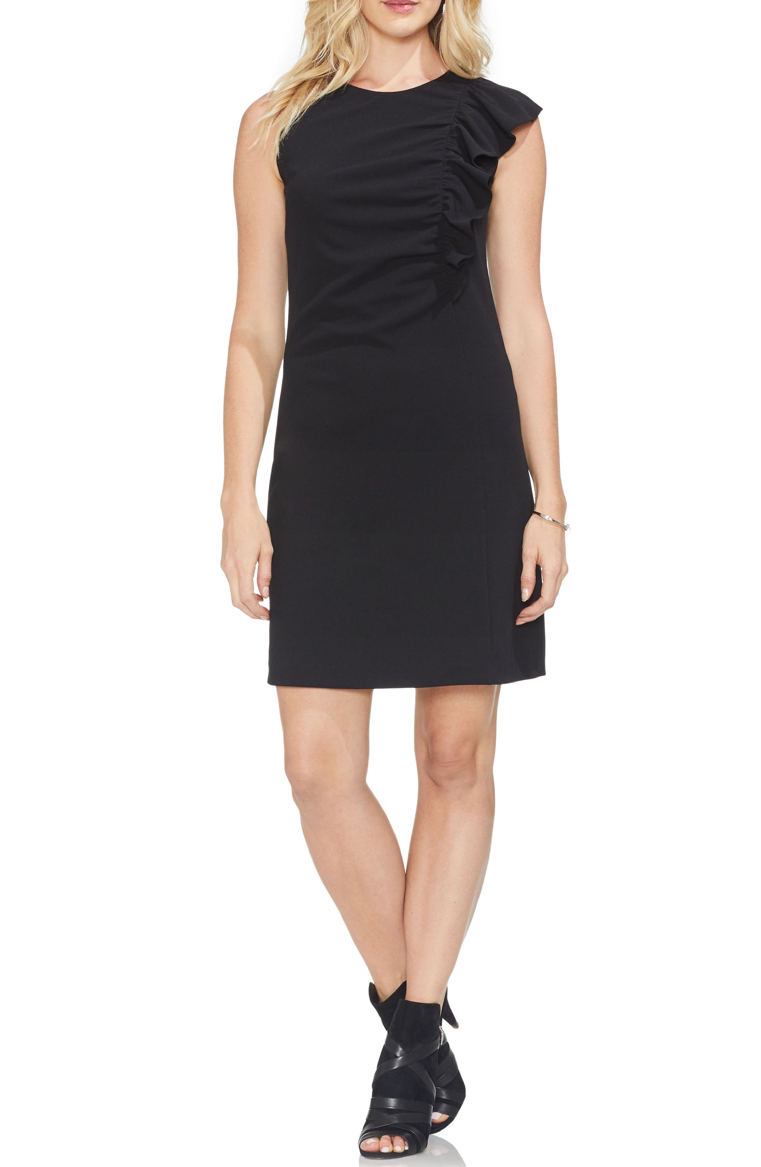 Petite Vince Camuto Asymmetrical Ruffle Ponte Dress, Black