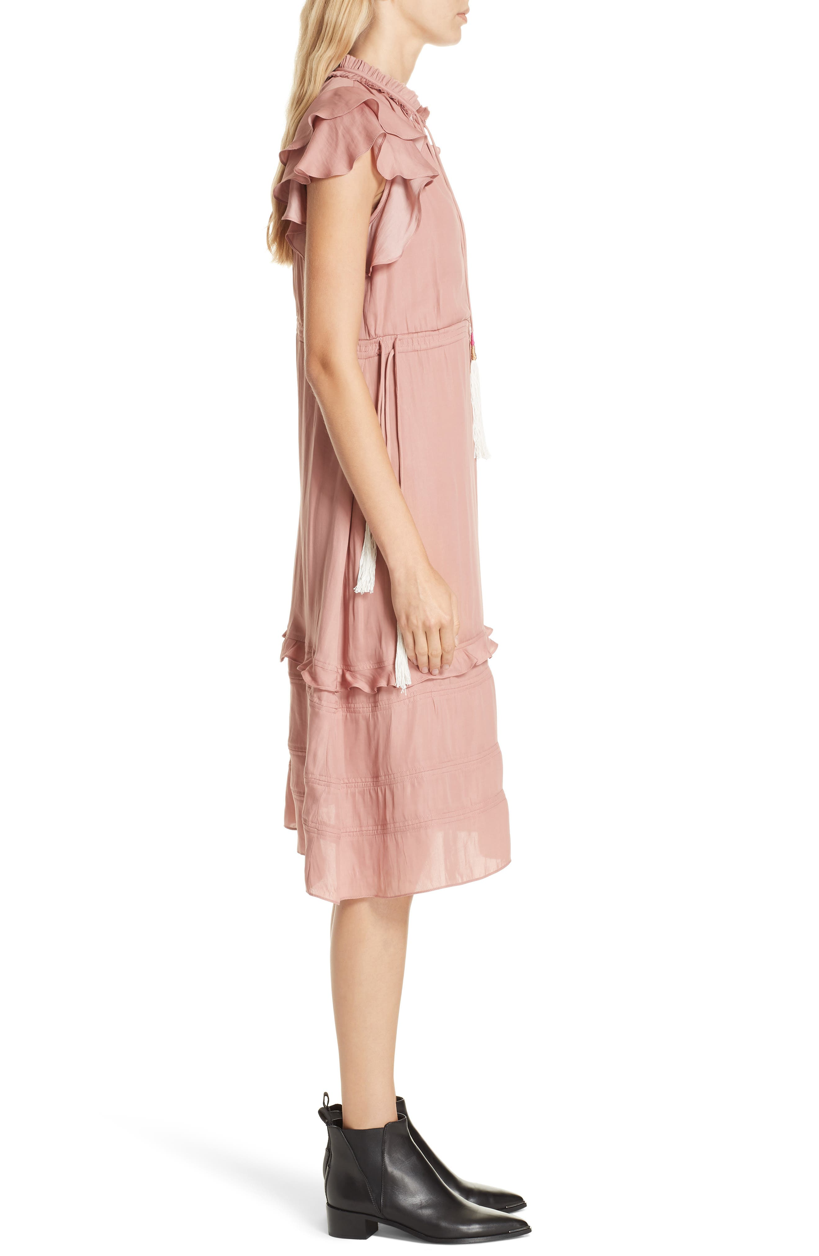 Tassel Tie Midi Dress,                             Alternate thumbnail 3, color,                             ROSE WOOD