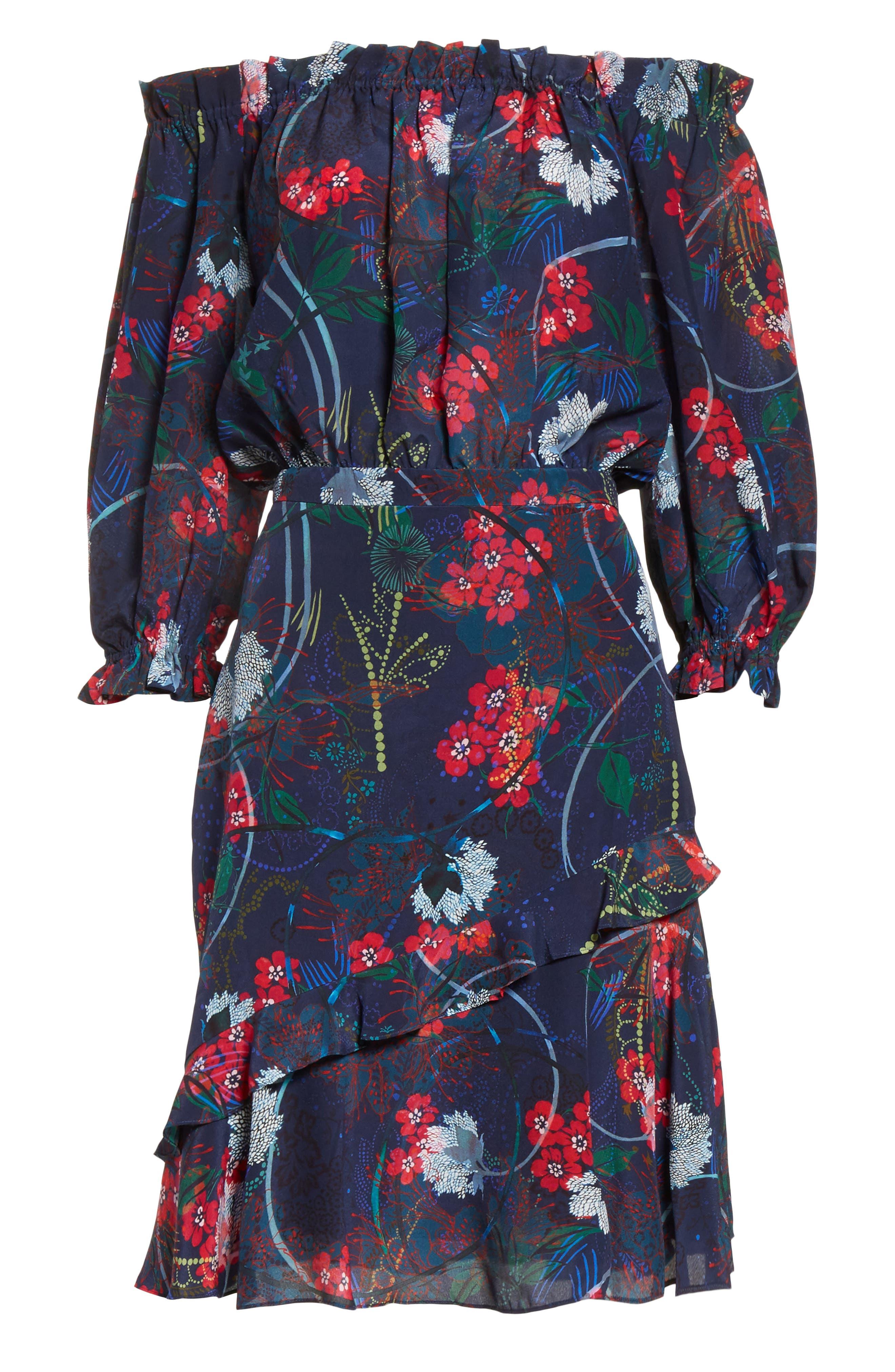 Grace Print Off the Shoulder Silk Dress,                             Alternate thumbnail 11, color,