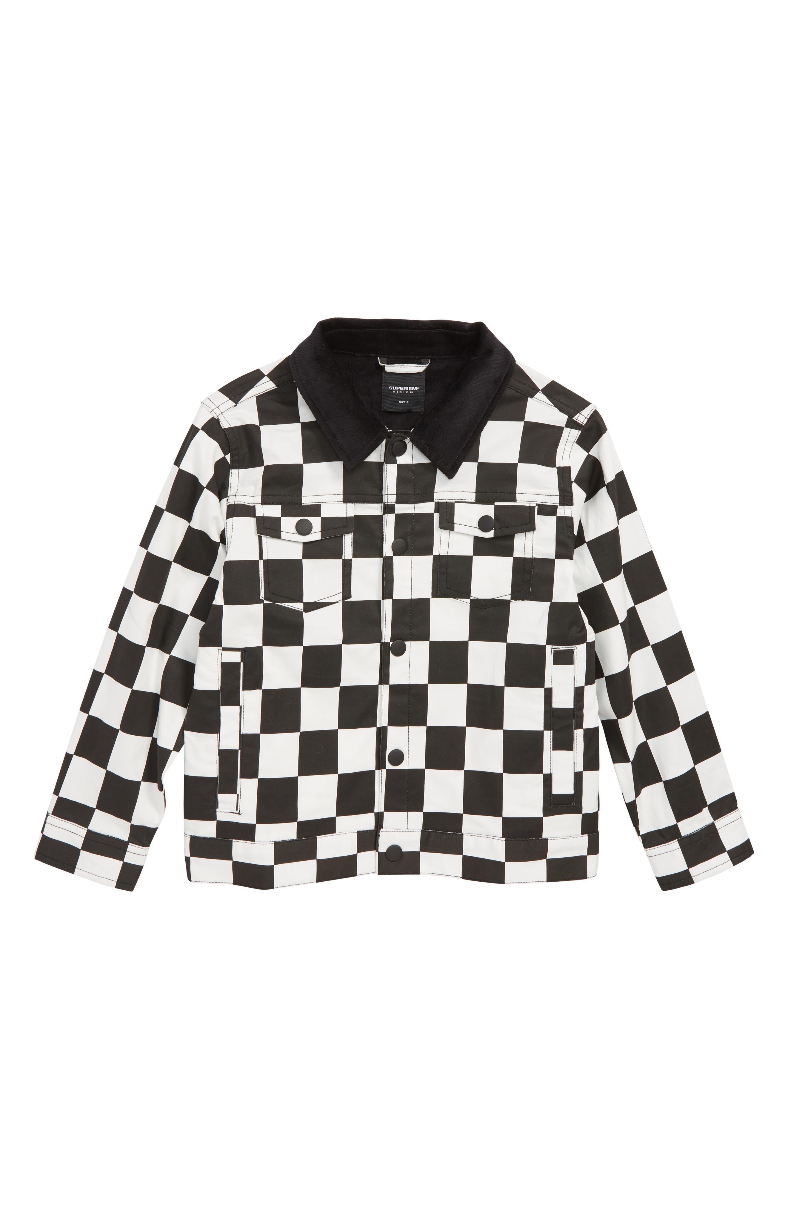 Colton Checkerboard Jacket,                         Main,                         color, BLACK