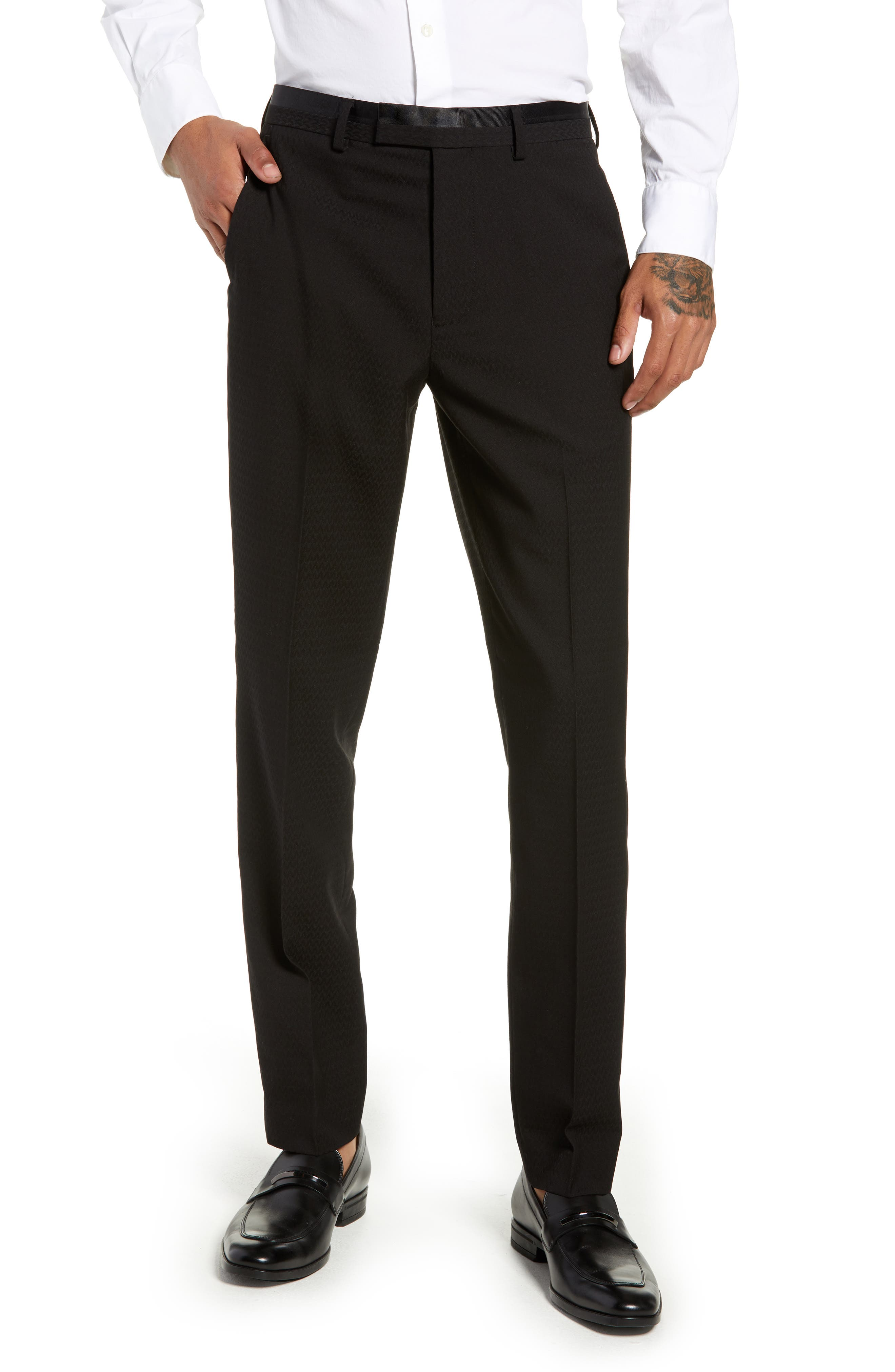 Kingley Slim Fit Tuxedo Pants,                         Main,                         color, BLACK