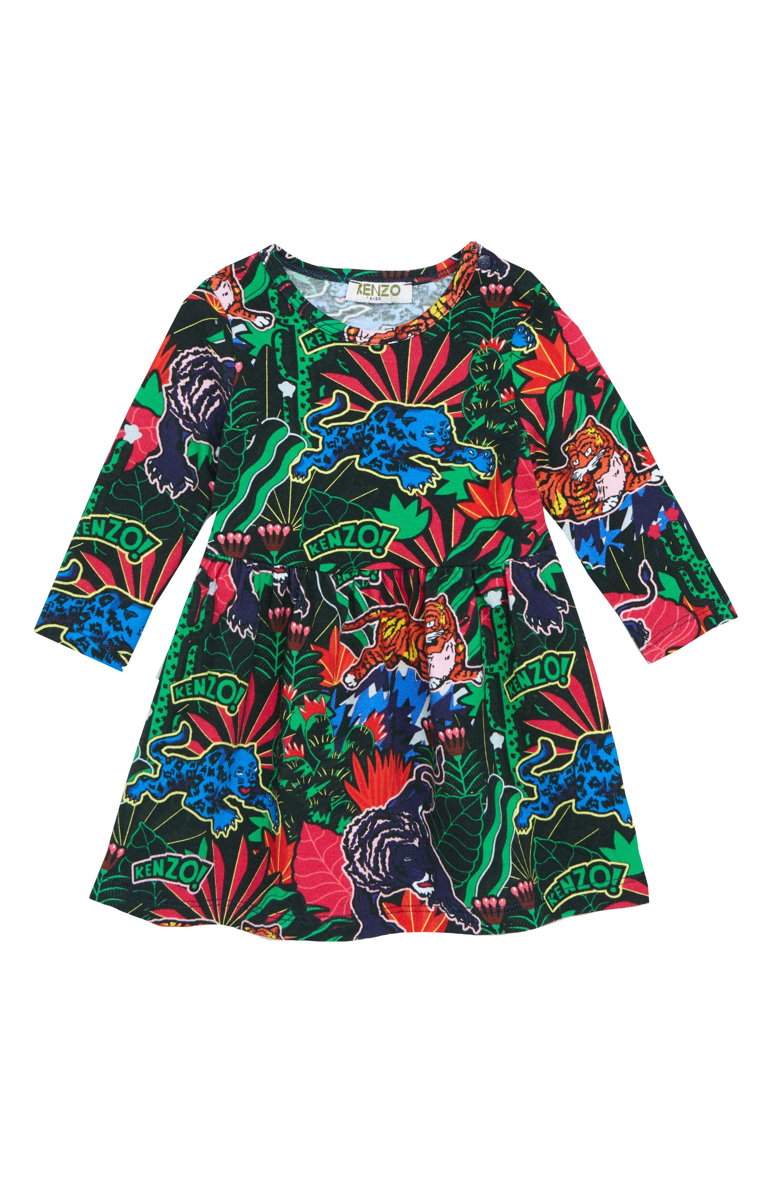 Print Fit & Flare Dress,                             Main thumbnail 1, color,                             NAVY