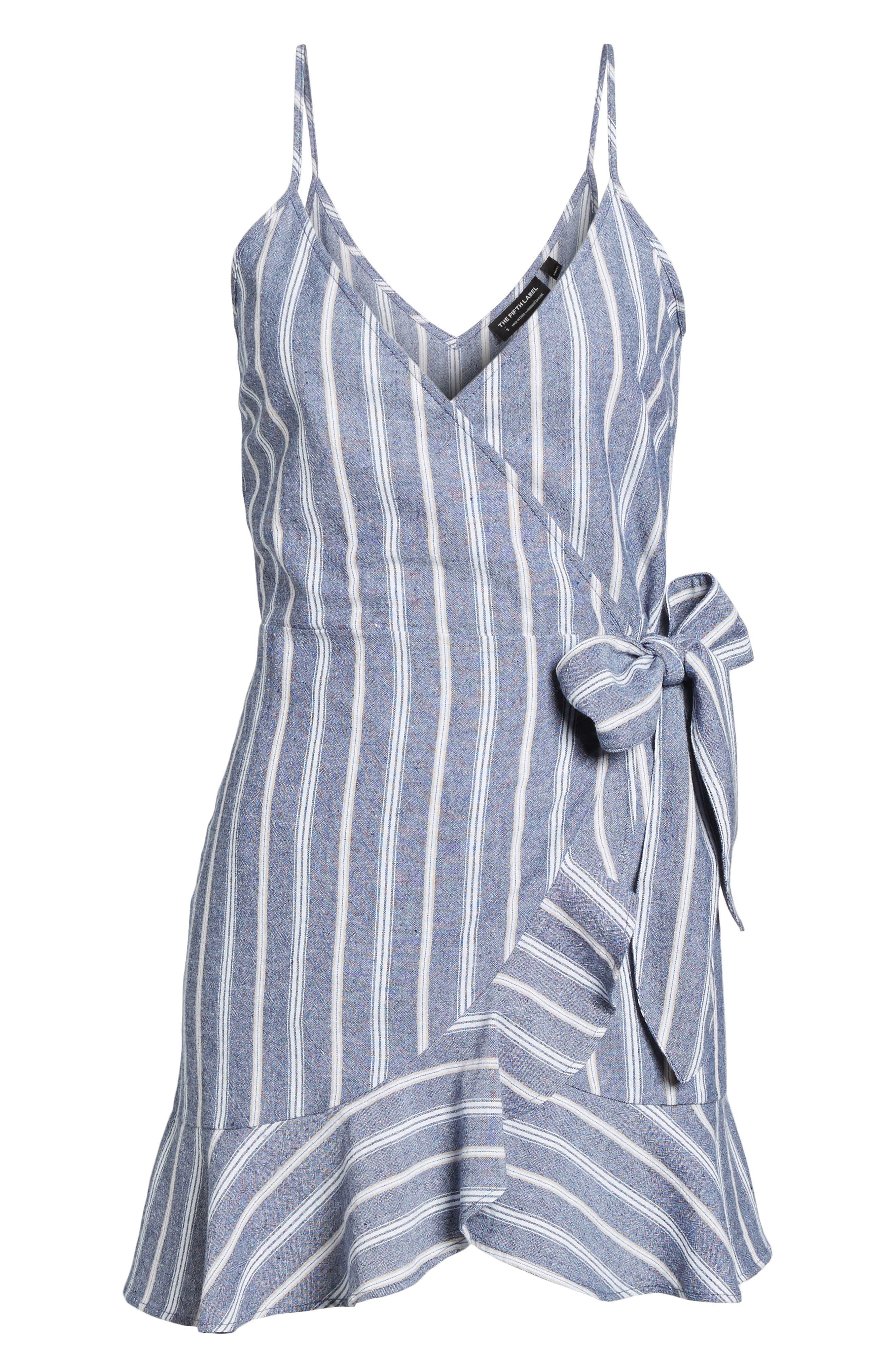 Voyage Stripe Wrap Dress,                             Alternate thumbnail 6, color,                             400