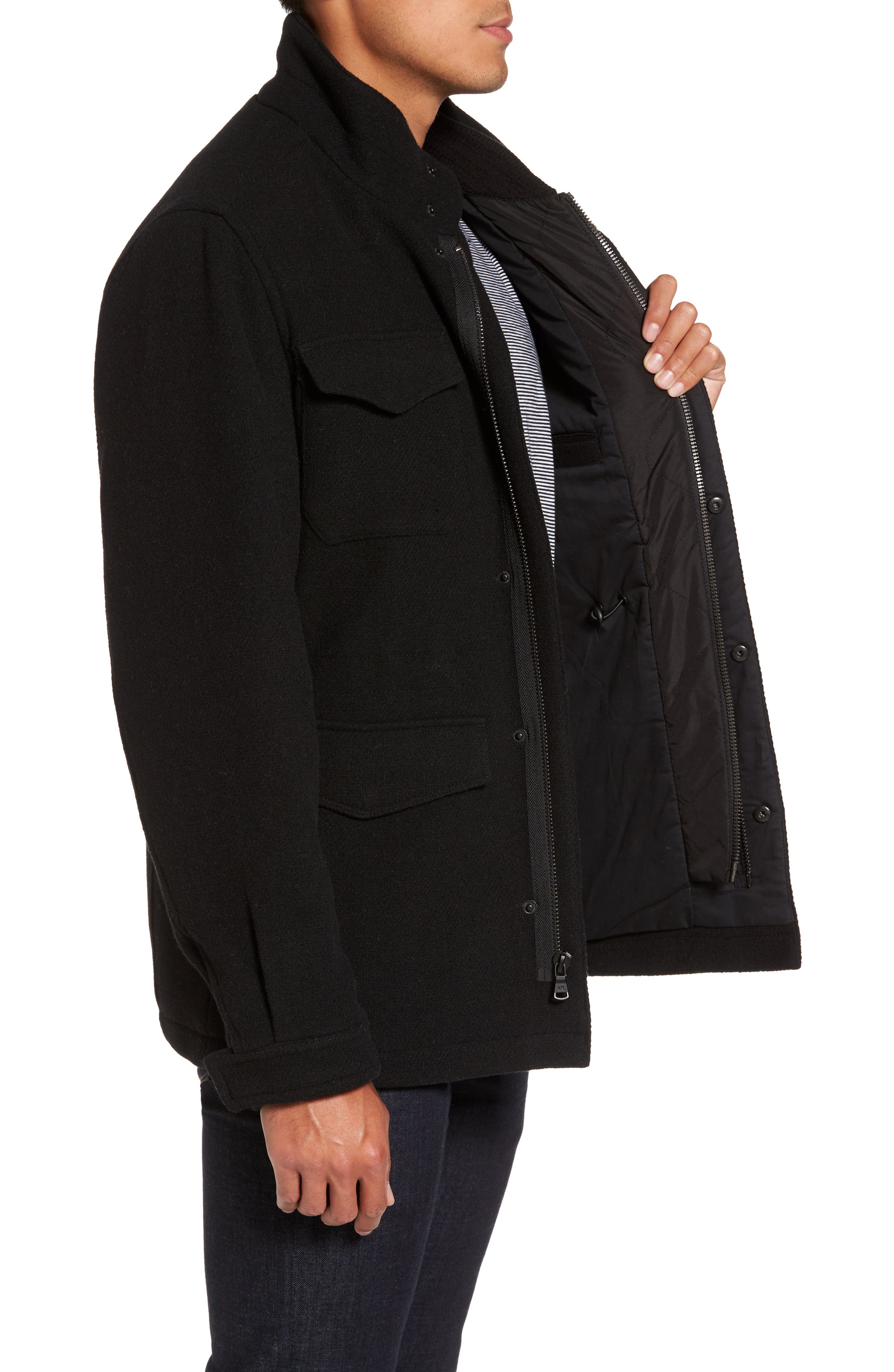 Regular Fit Double Layer Field Jacket,                             Alternate thumbnail 3, color,                             001