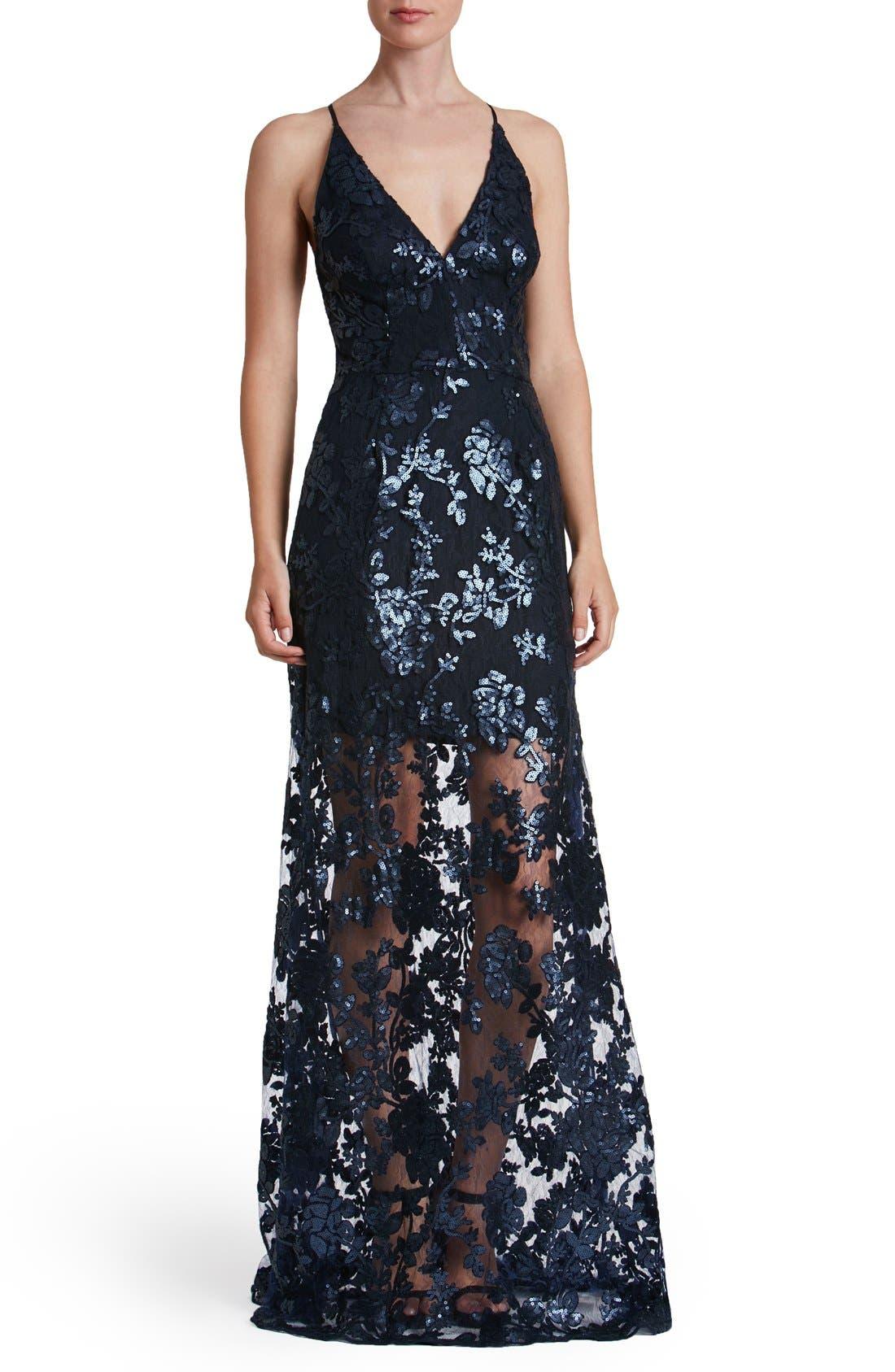 'Vivienne' Sequin Lace Gown,                             Main thumbnail 2, color,