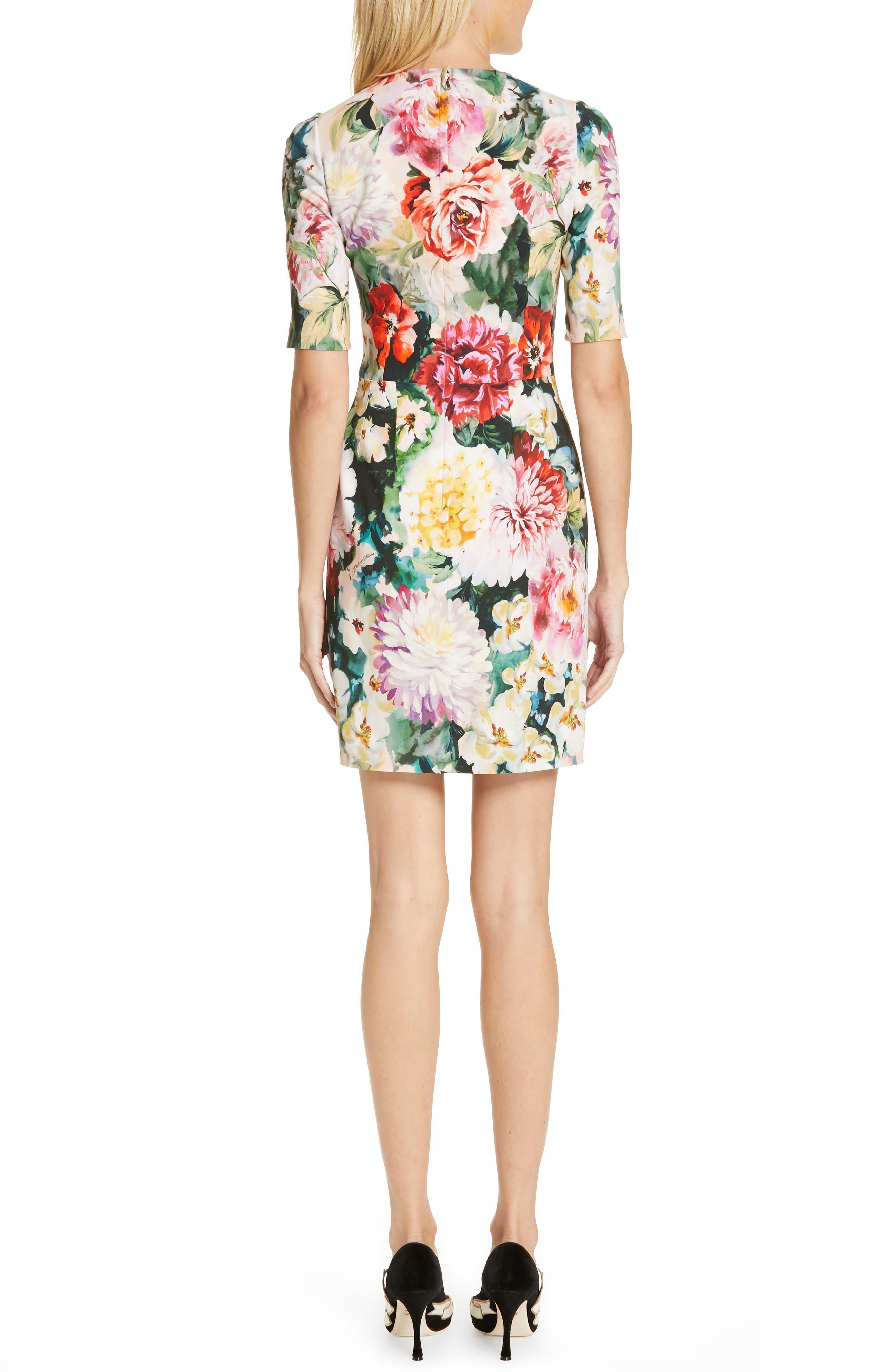 Floral Print Cady Dress,                             Alternate thumbnail 2, color,                             PINK FLORAL