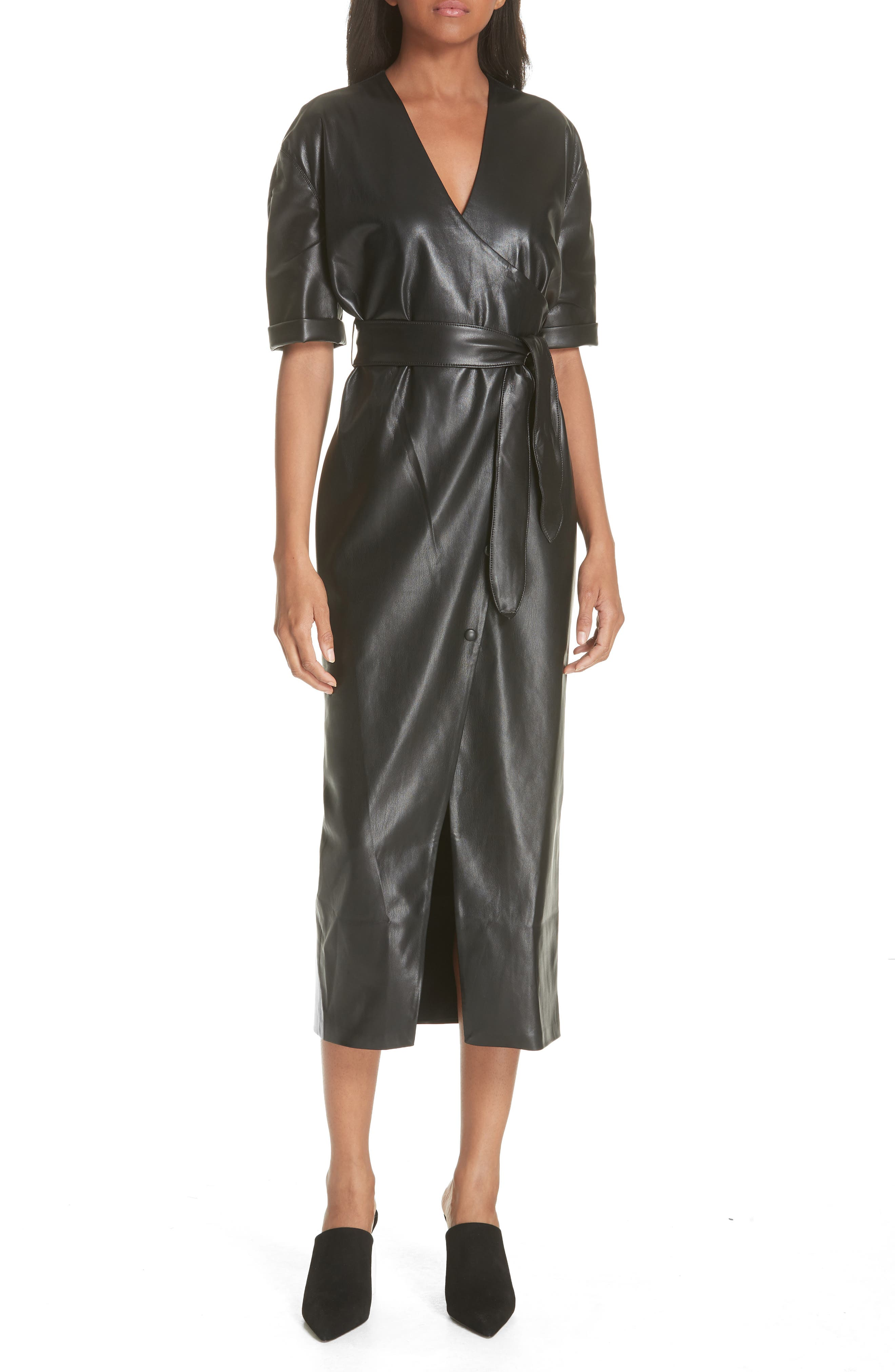 Penelope Faux Leather Wrap Dress,                         Main,                         color, BLACK