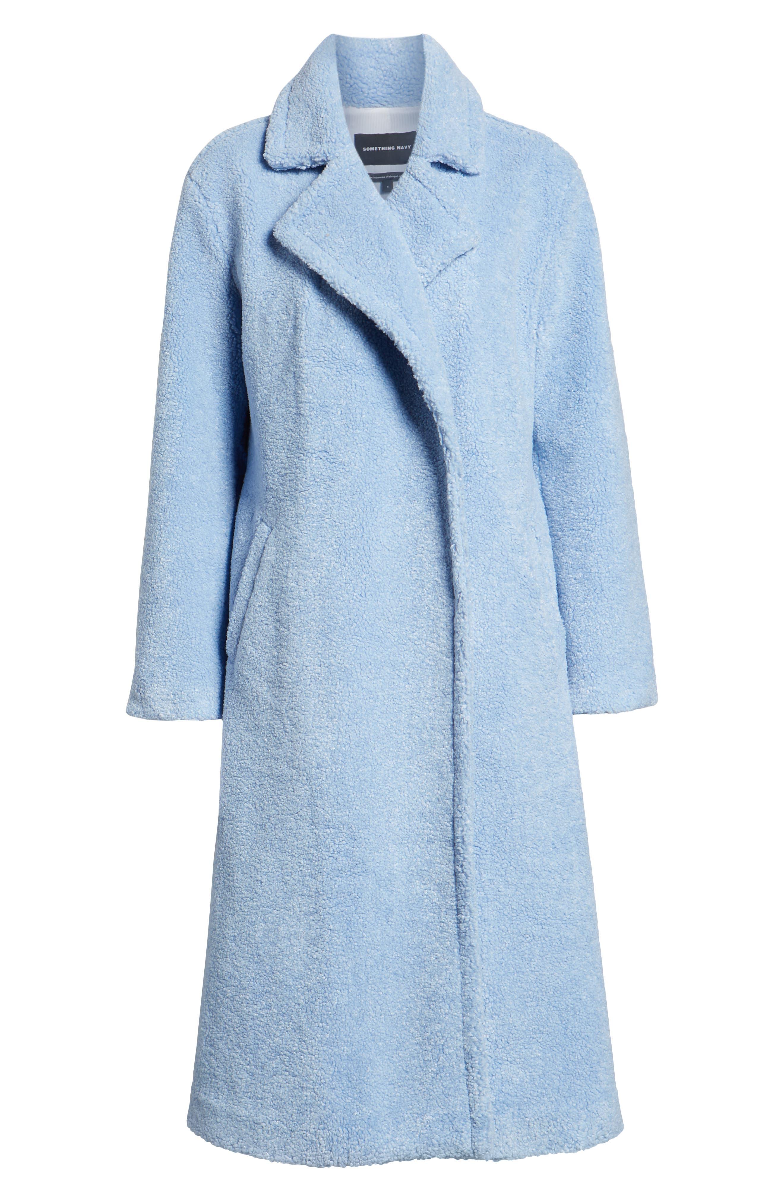 Teddy Faux Fur Coat, Alternate, color, BLUE BRUNNERA