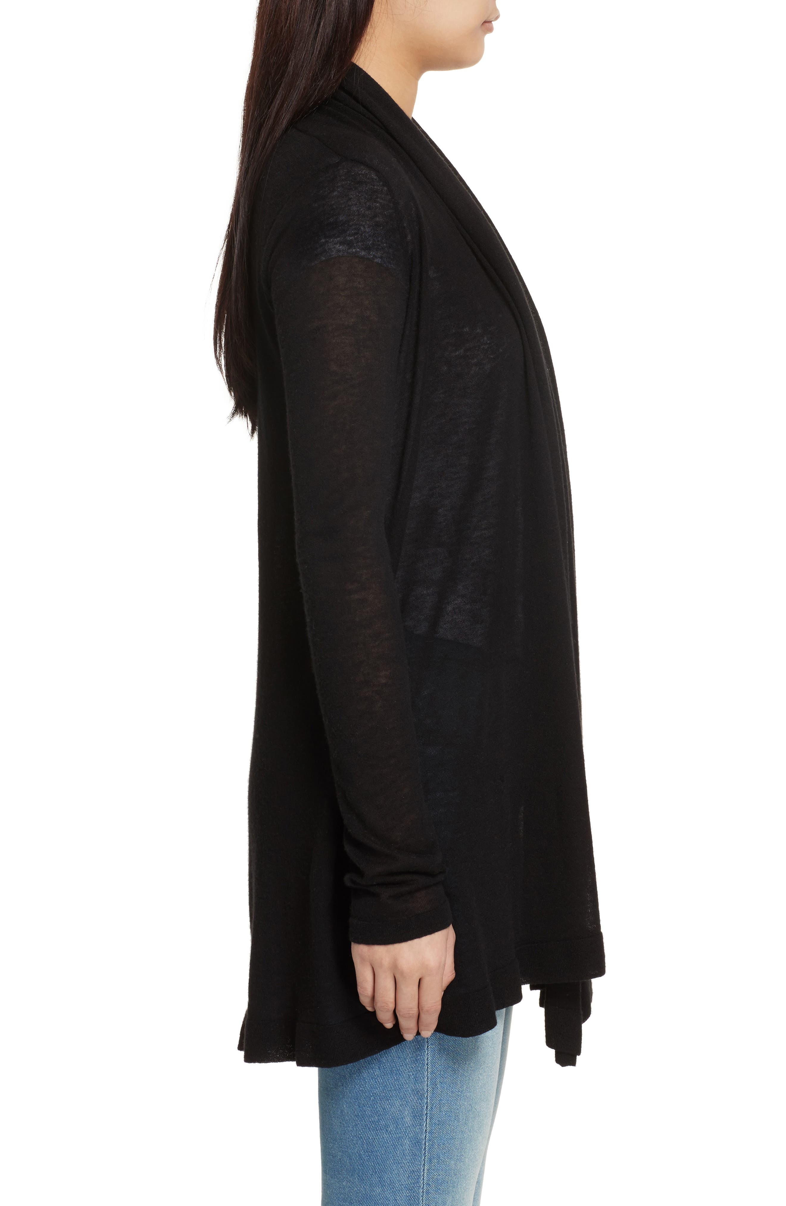 THEORY,                             Featherweight Cashmere Cardigan,                             Alternate thumbnail 3, color,                             001