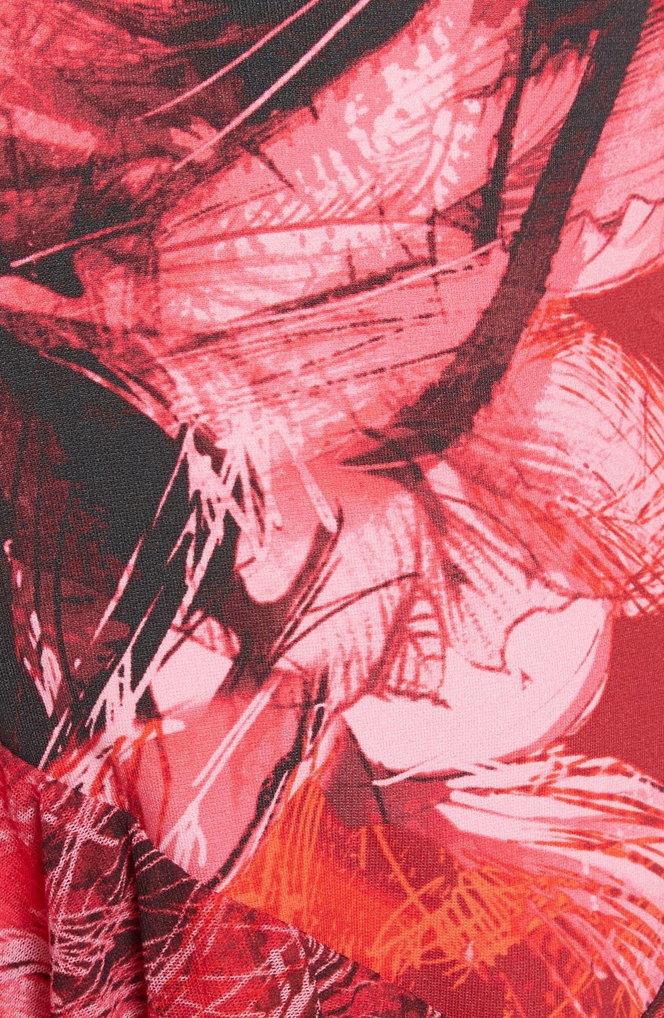 Print Tulle Ruffle Hem Dress,                             Alternate thumbnail 5, color,