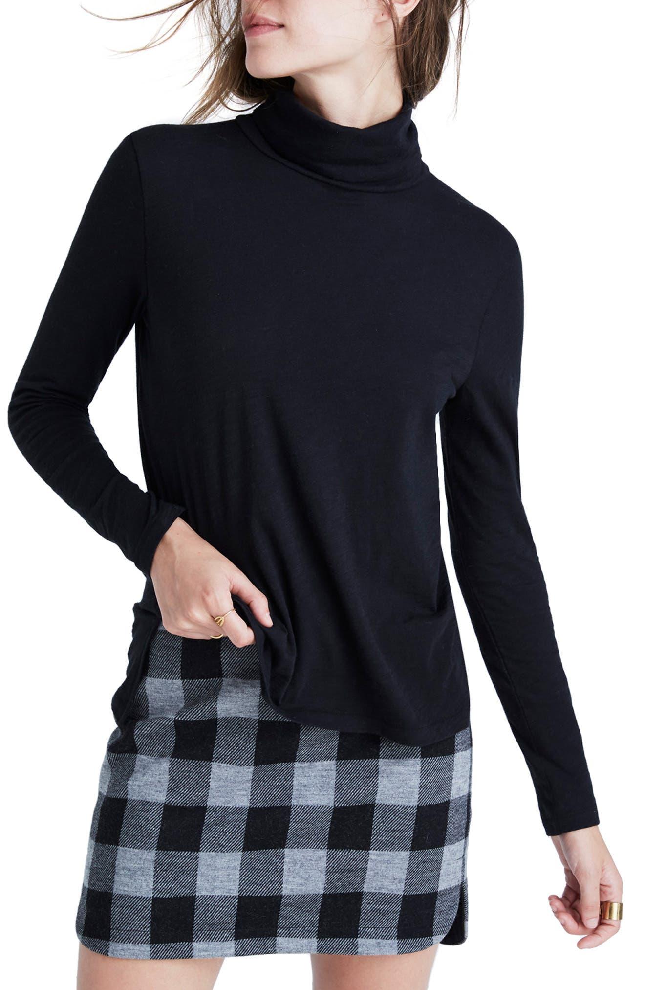 Whisper Cotton Turtleneck Top,                         Main,                         color, TRUE BLACK