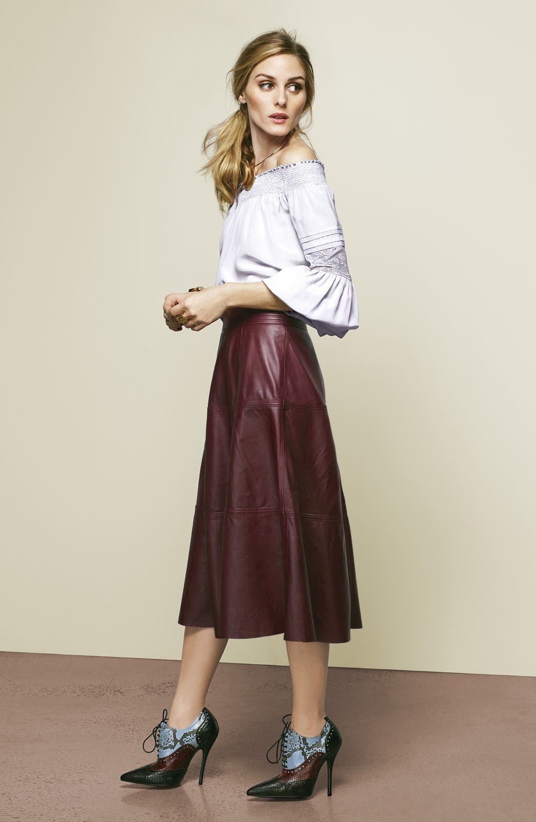 Olivia Palermo + Chelsea28 Silk Off the Shoulder Peasant Top,                         Main,                         color, 650