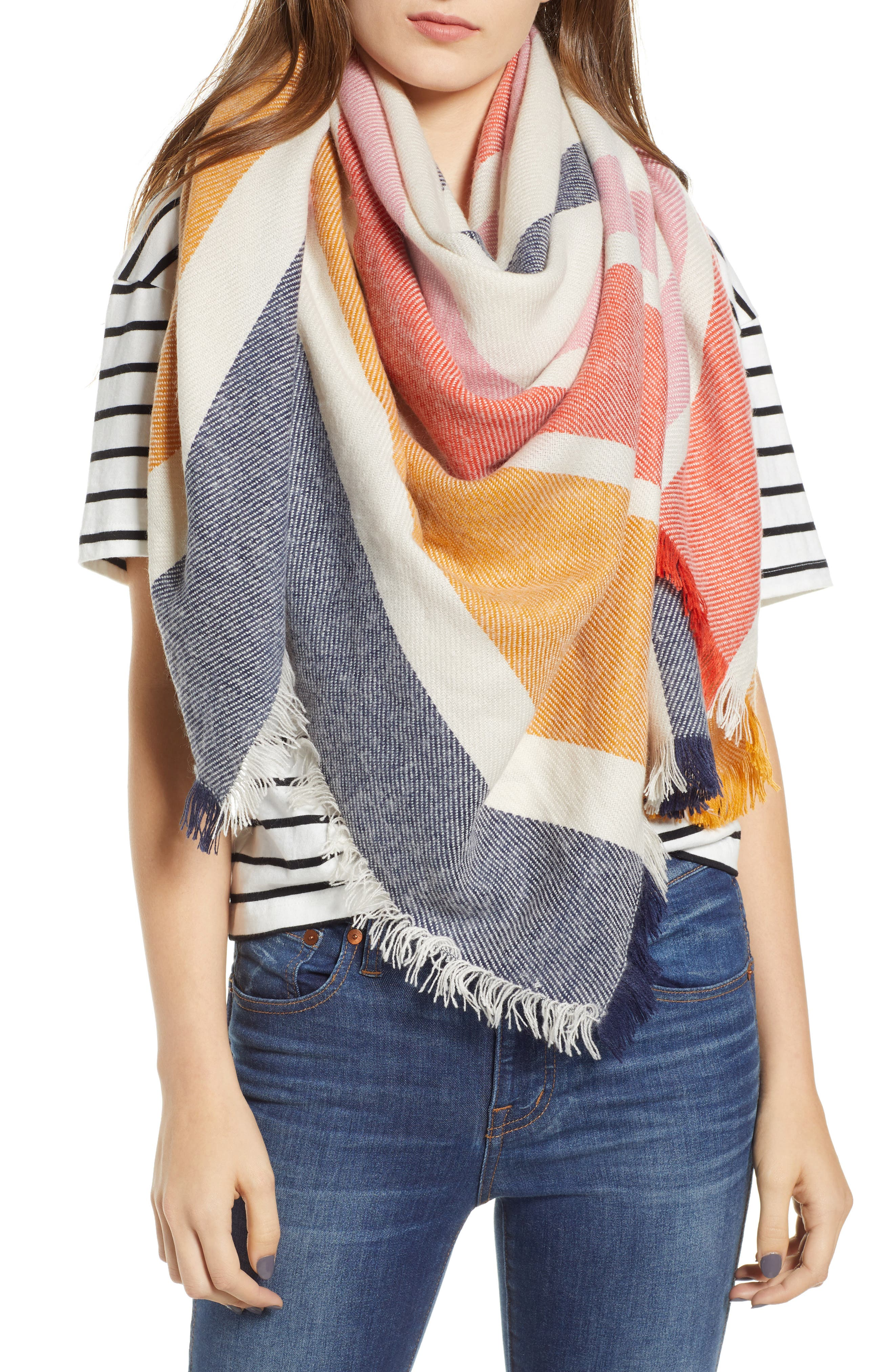 MADEWELL,                             Stripe Blanket Scarf,                             Main thumbnail 1, color,                             400