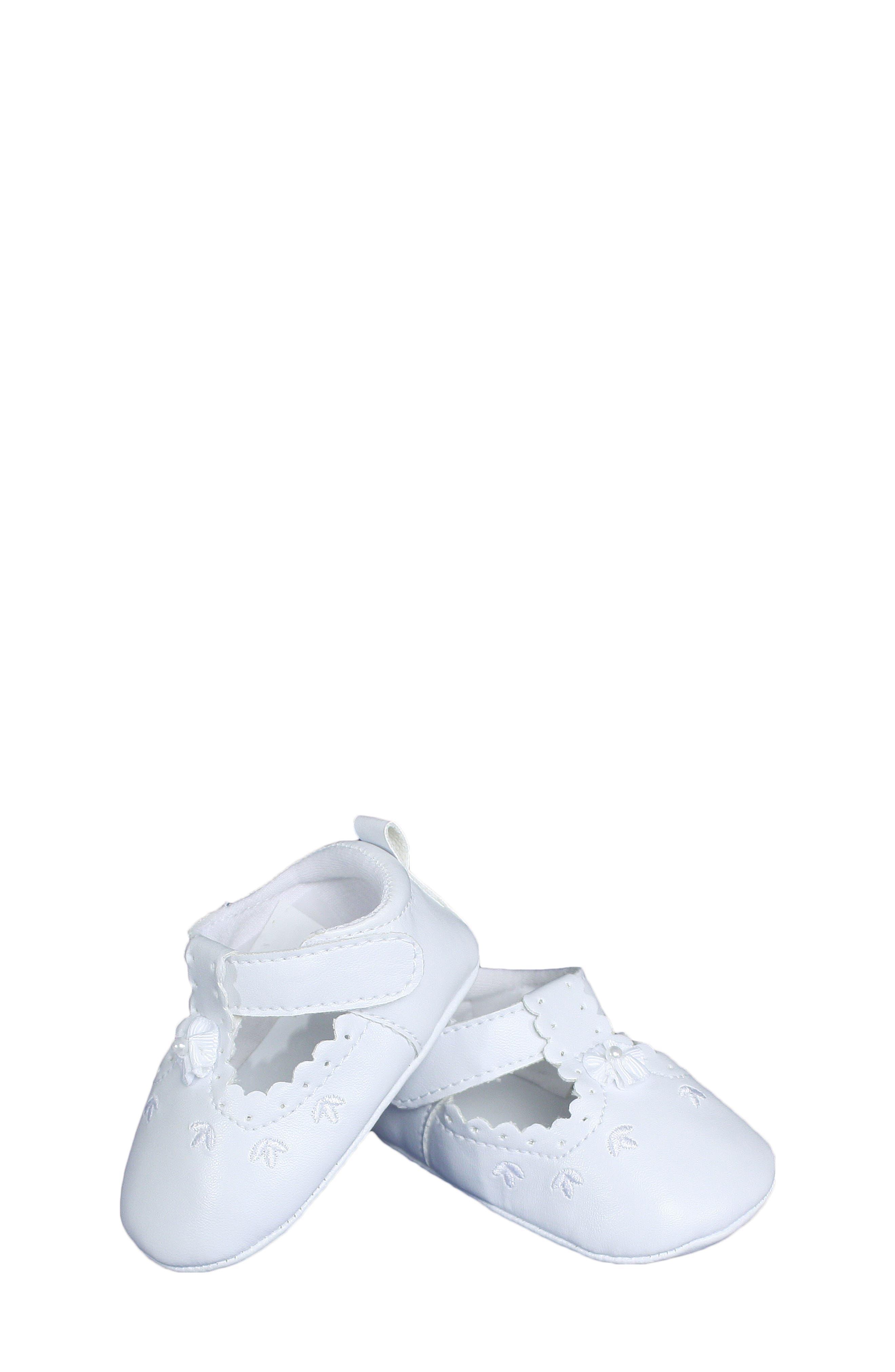 Mary Jane Crib Shoe,                             Main thumbnail 1, color,                             WHITE