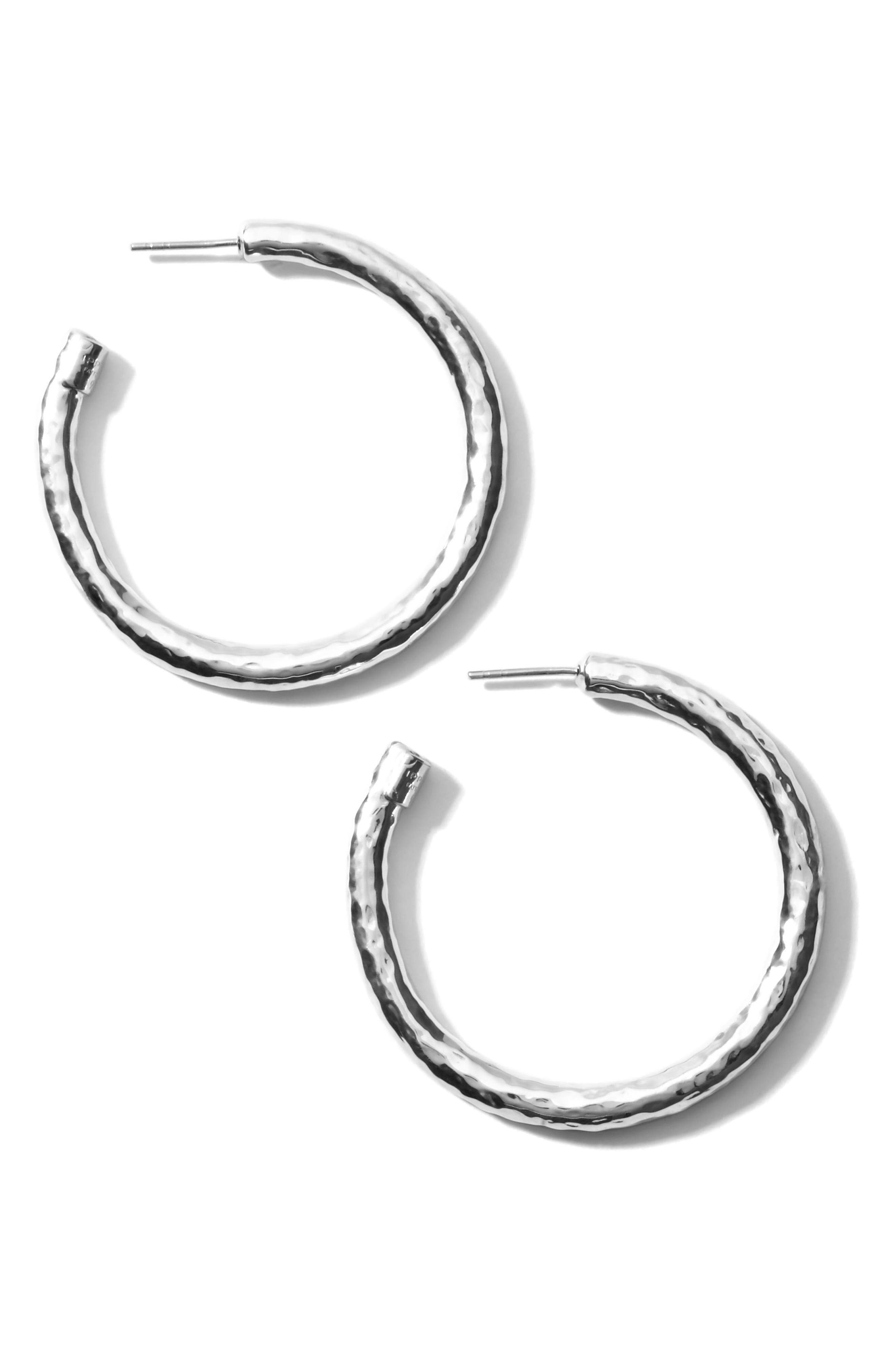 'Glamazon - Number 3' Skinny Hammered Hoop Earrings,                             Alternate thumbnail 3, color,                             049