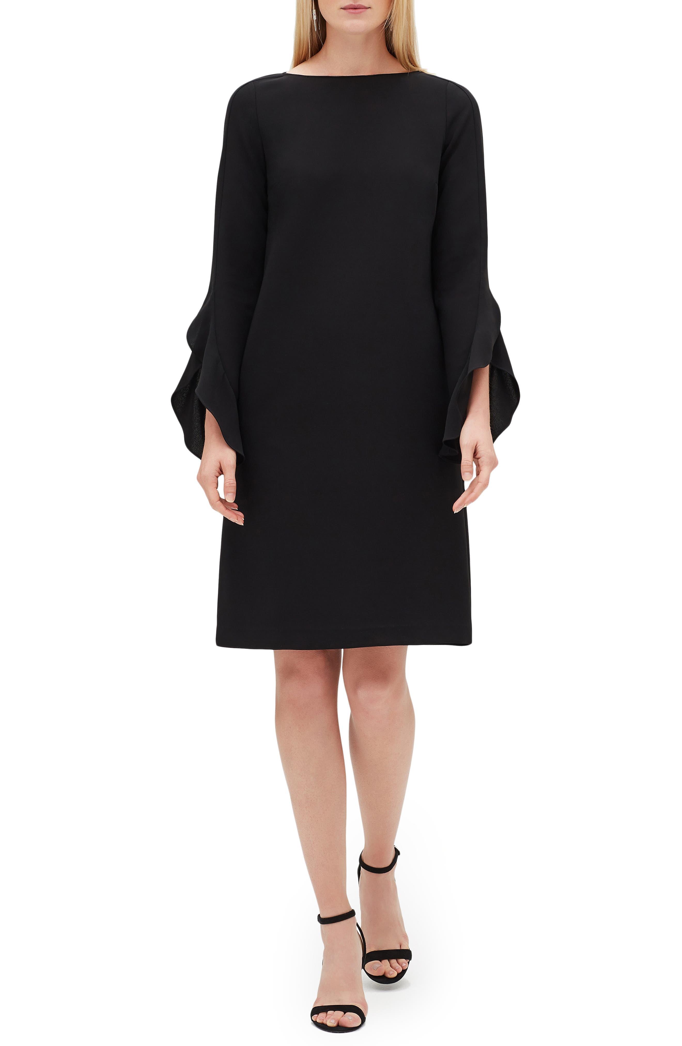 Emory Finesse Crepe Dress, Main, color, BLACK