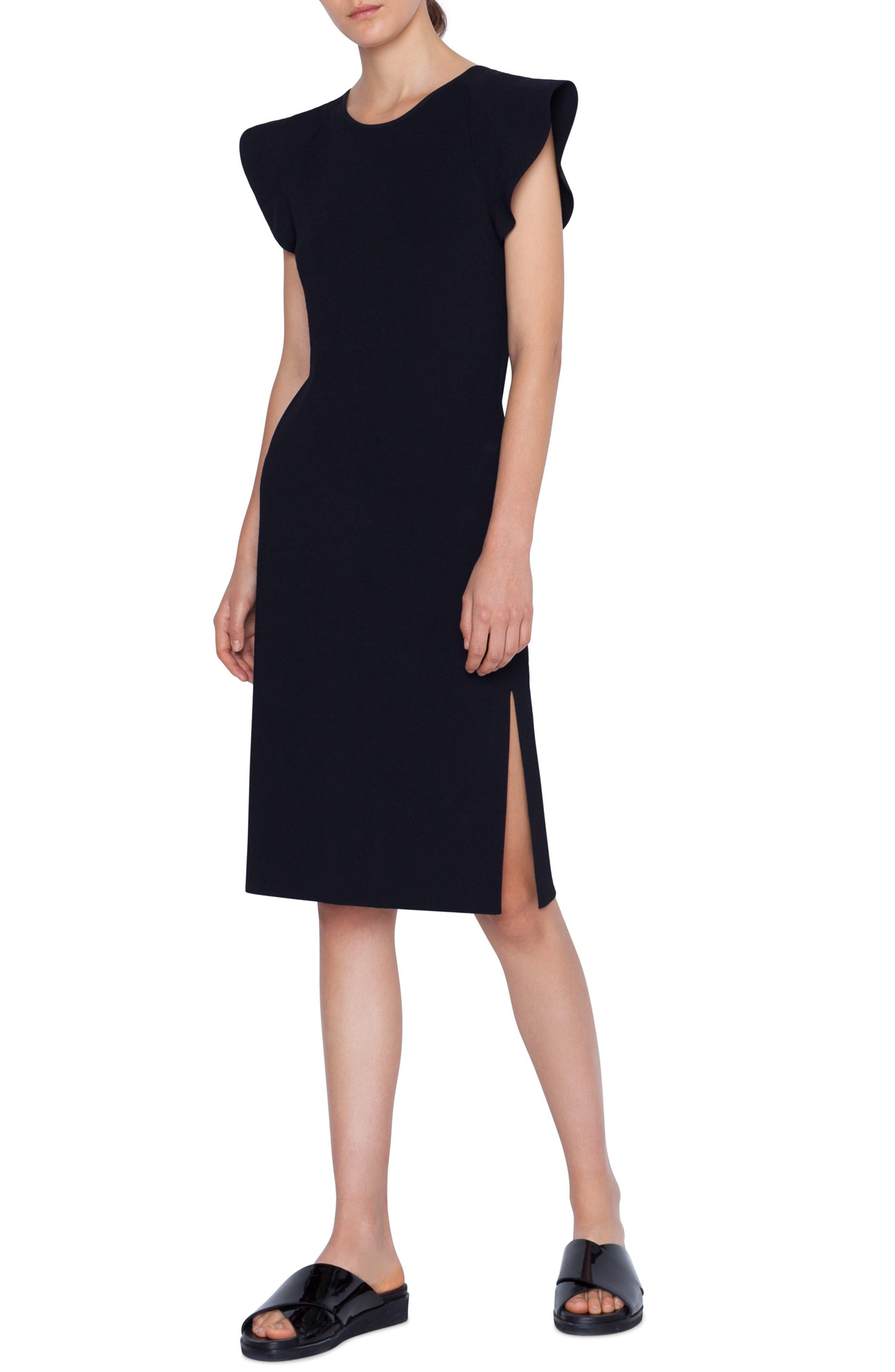 Wave Shoulder Knit Dress, Main, color, NERO