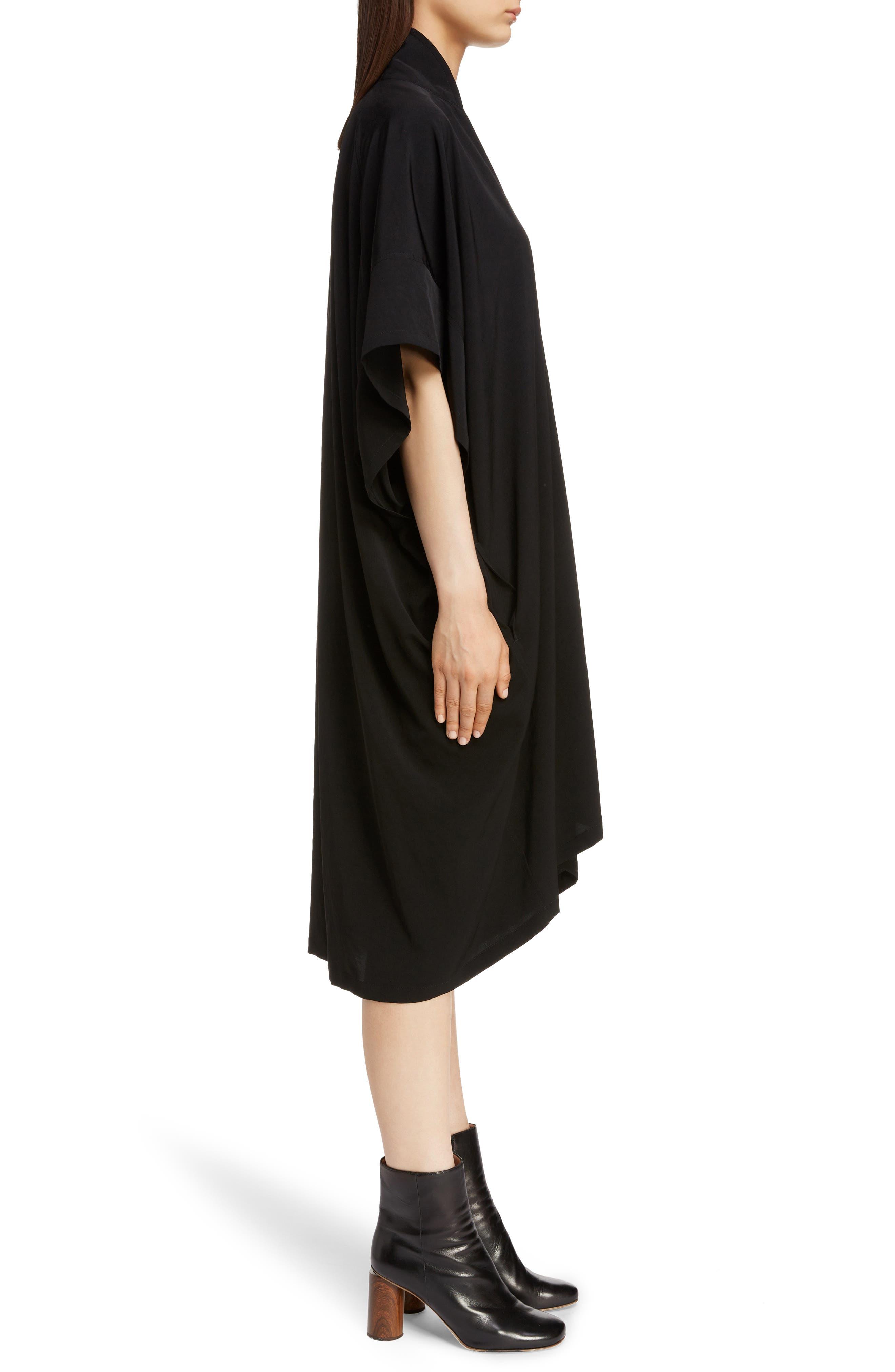 Stand Collar Flare Dress,                             Alternate thumbnail 3, color,                             BLACK