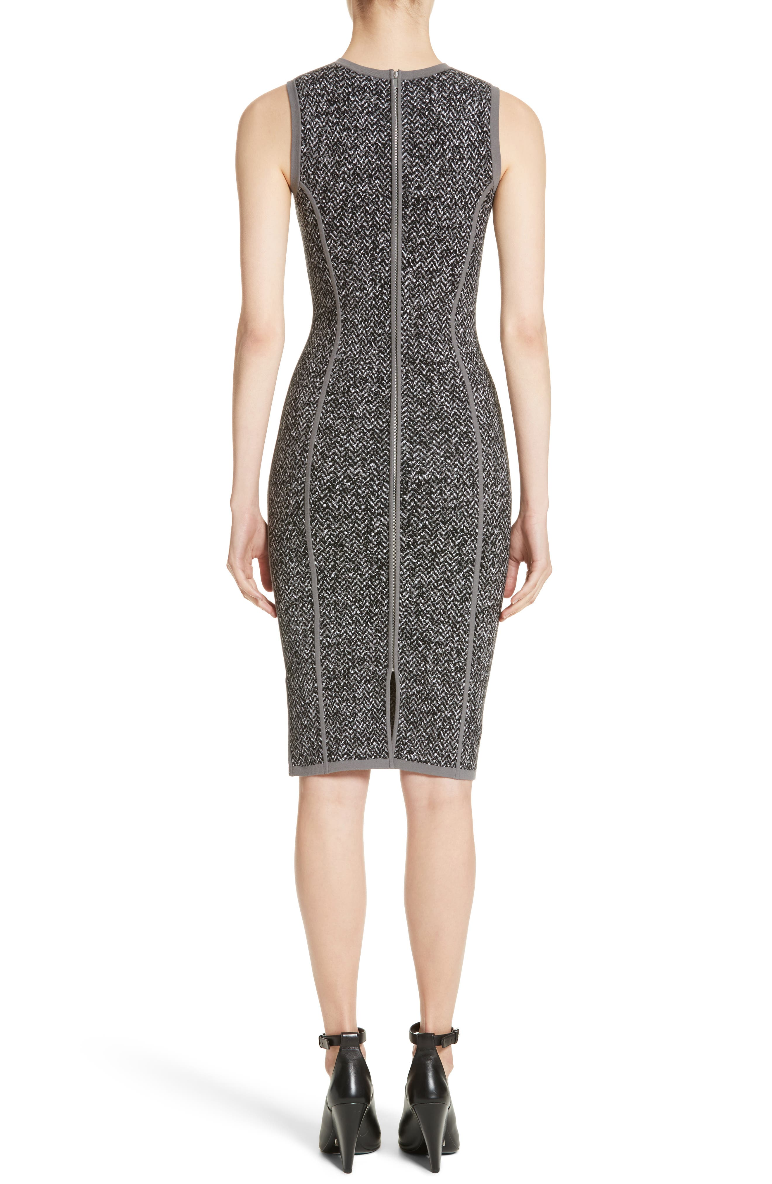 Stretch Tweed Jacquard Sheath Dress,                             Alternate thumbnail 2, color,                             033