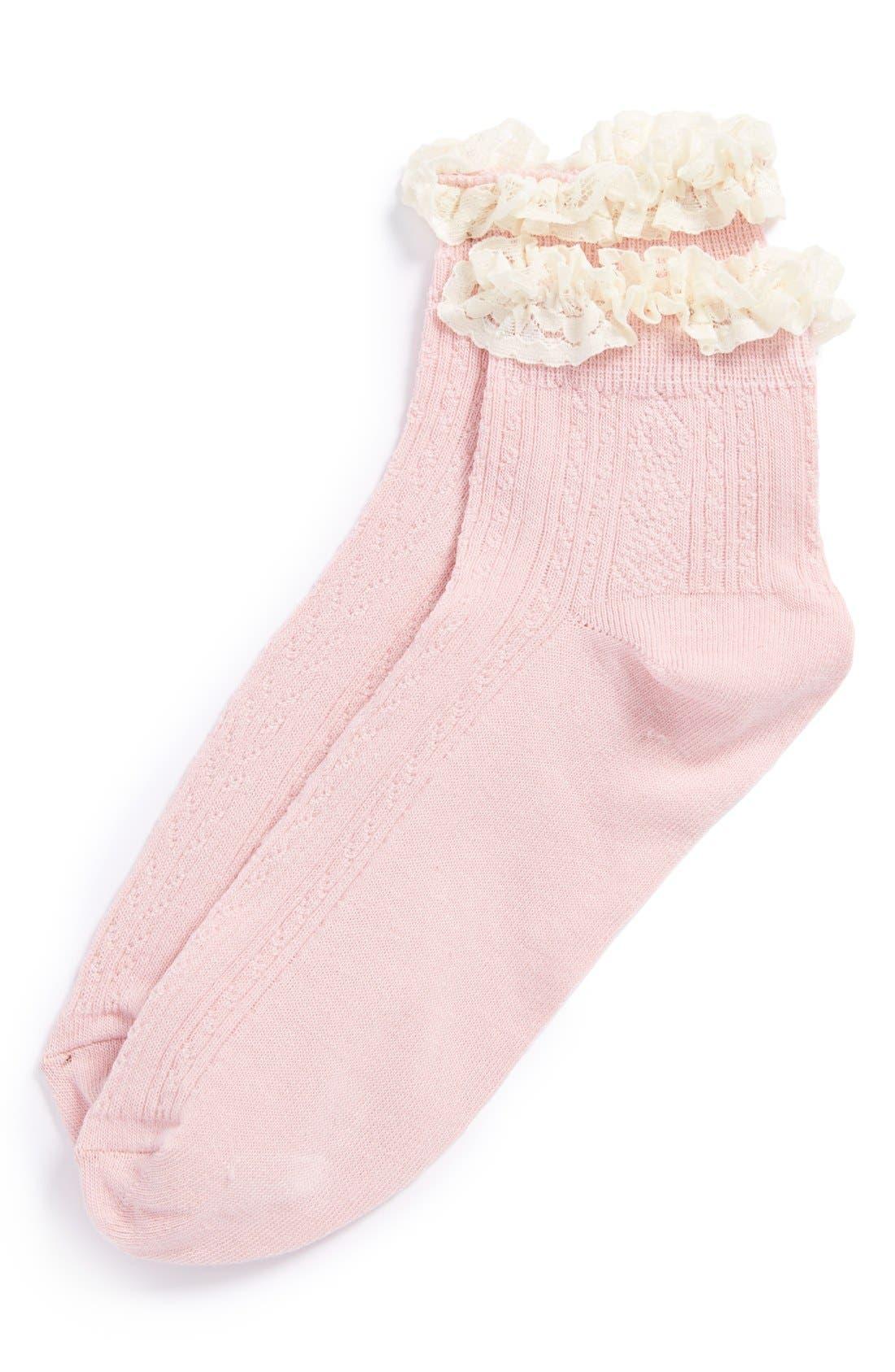Lace Trim Ankle Socks,                             Main thumbnail 21, color,