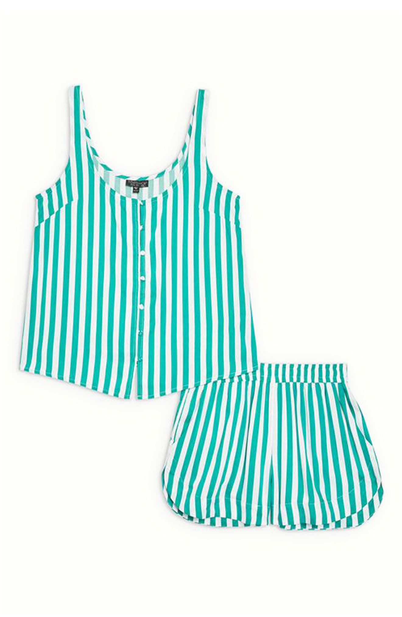 Humbug Stripe Short Pajamas,                             Alternate thumbnail 3, color,                             300
