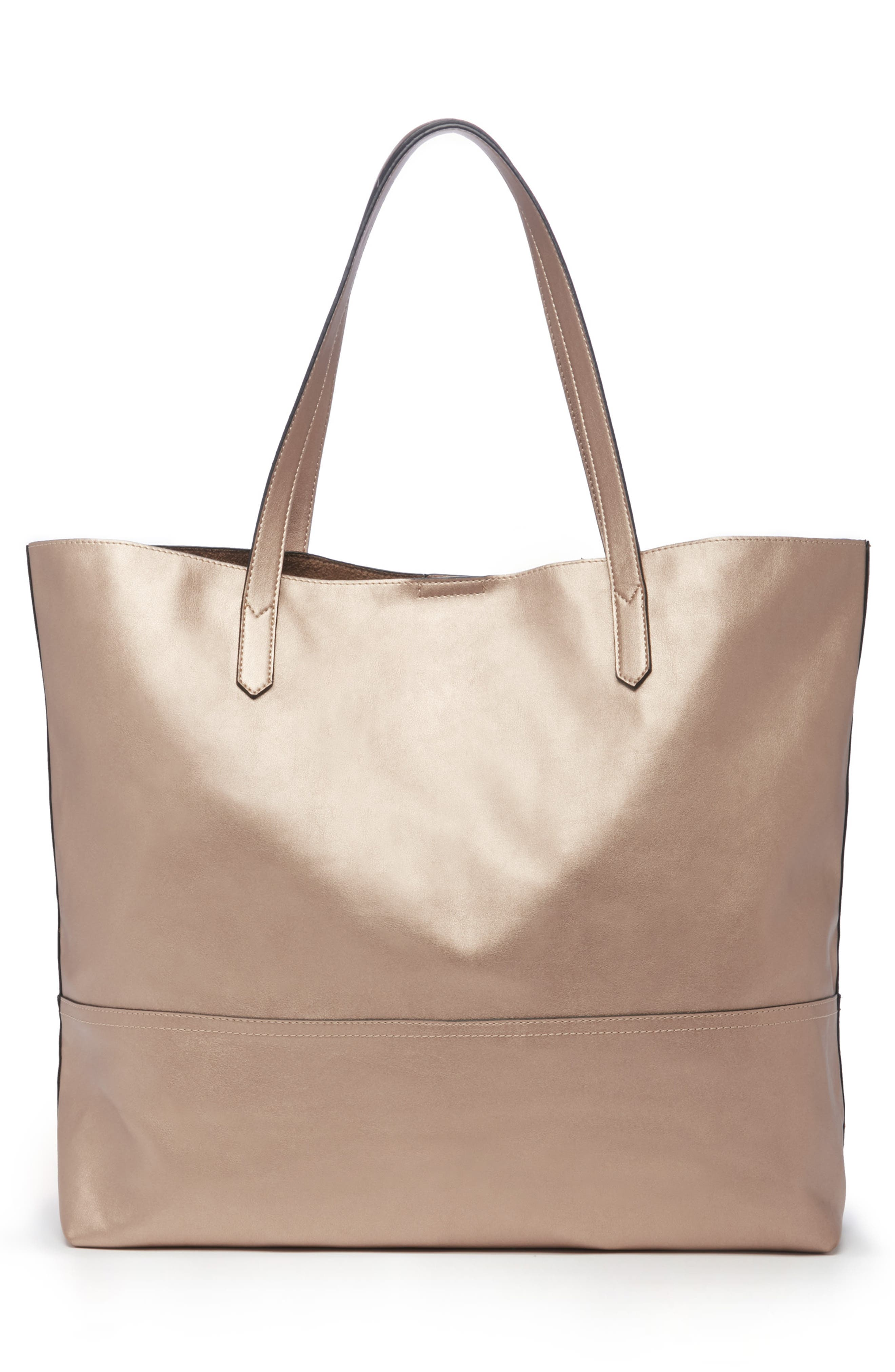 Inell Metallic Faux Leather Tote,                             Alternate thumbnail 2, color,                             ROSE GOLD