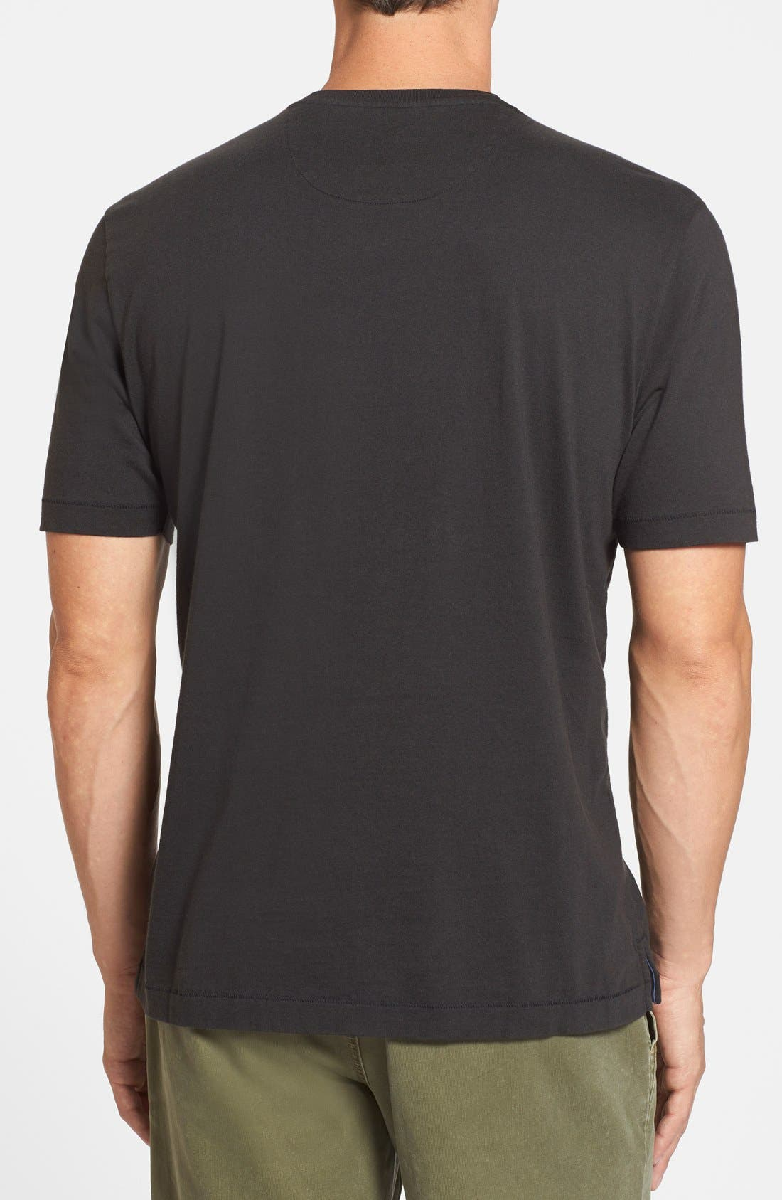 'New Bali Sky' Original Fit Crewneck Pocket T-Shirt,                             Alternate thumbnail 7, color,                             BLACK