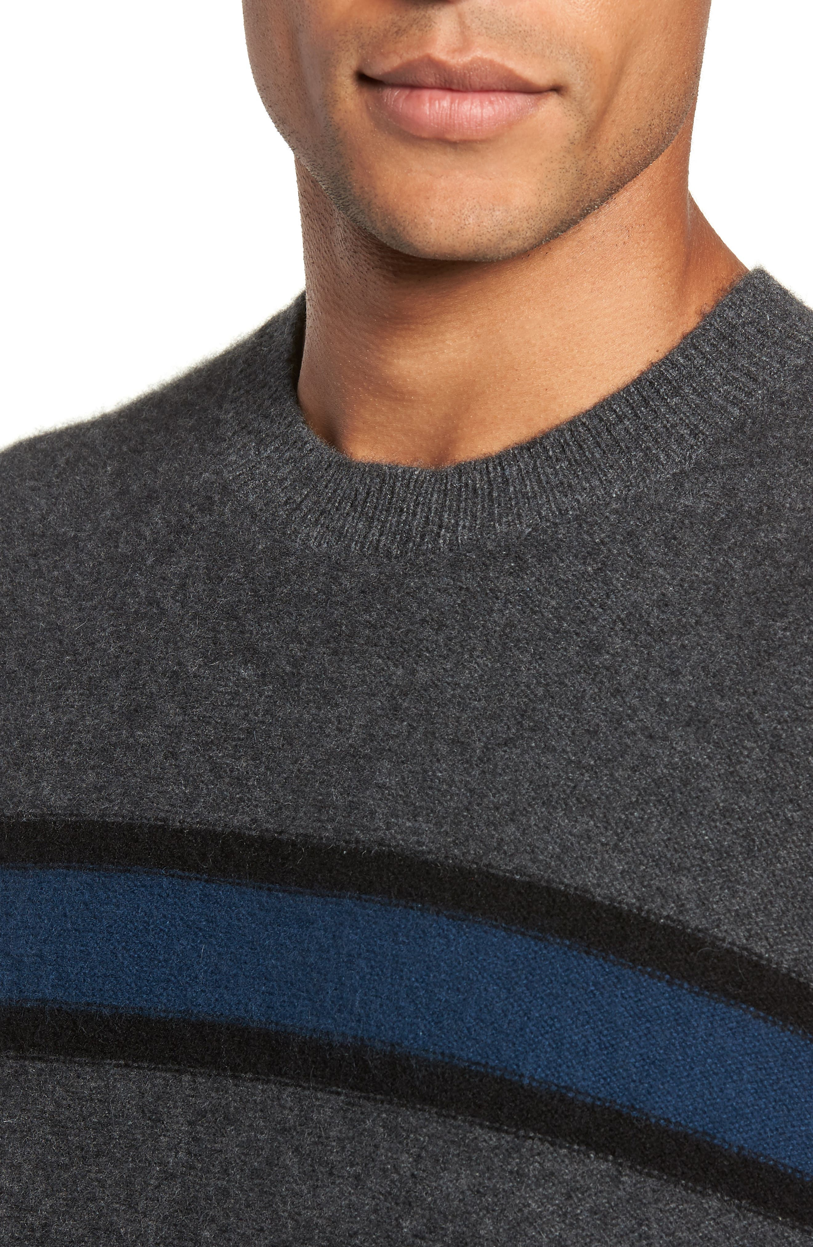 Regular Fit Stripe Cashmere Sweater,                             Alternate thumbnail 4, color,                             DARK HEATHER GREY/BLUE