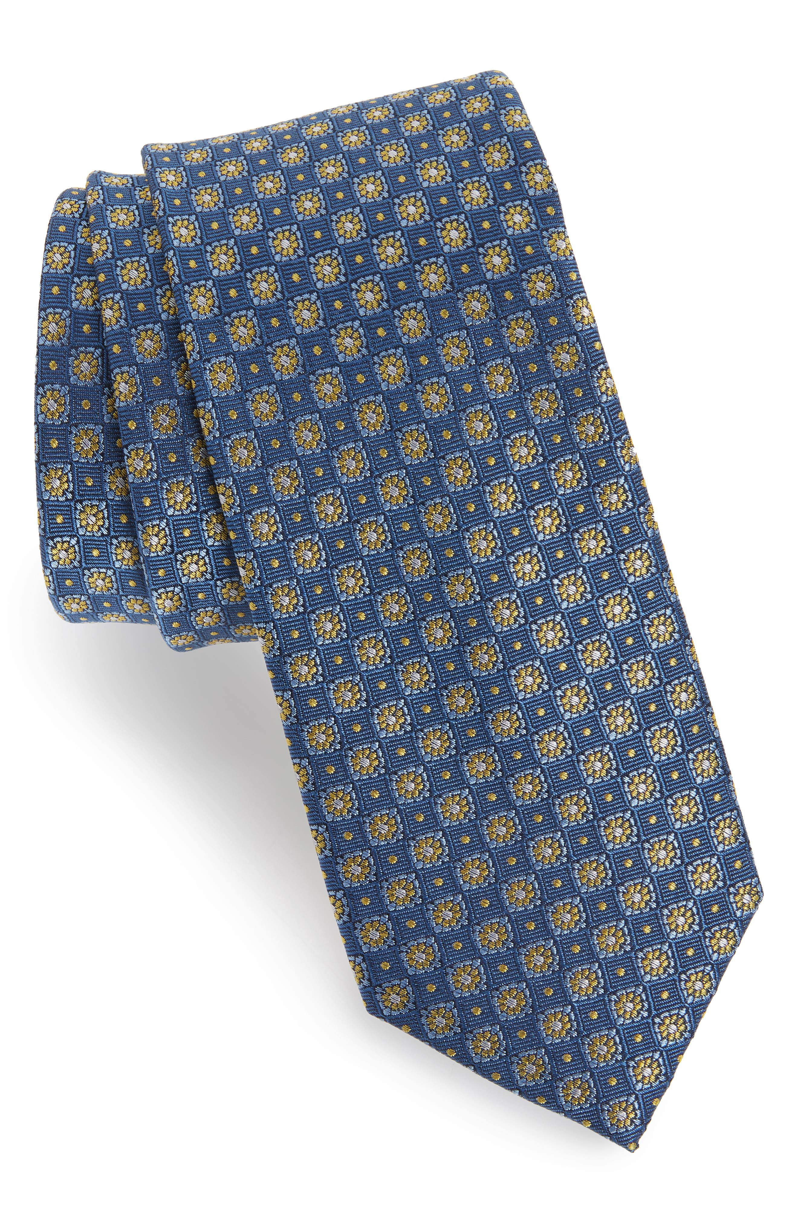 Homme Medallion Silk Tie,                         Main,                         color, BLUE