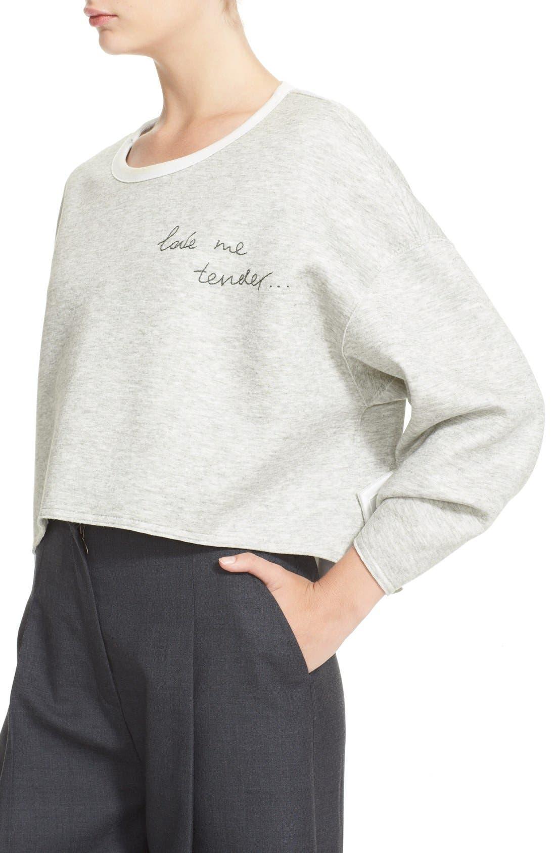 'Love Me Tender' Sweatshirt,                             Alternate thumbnail 4, color,                             020