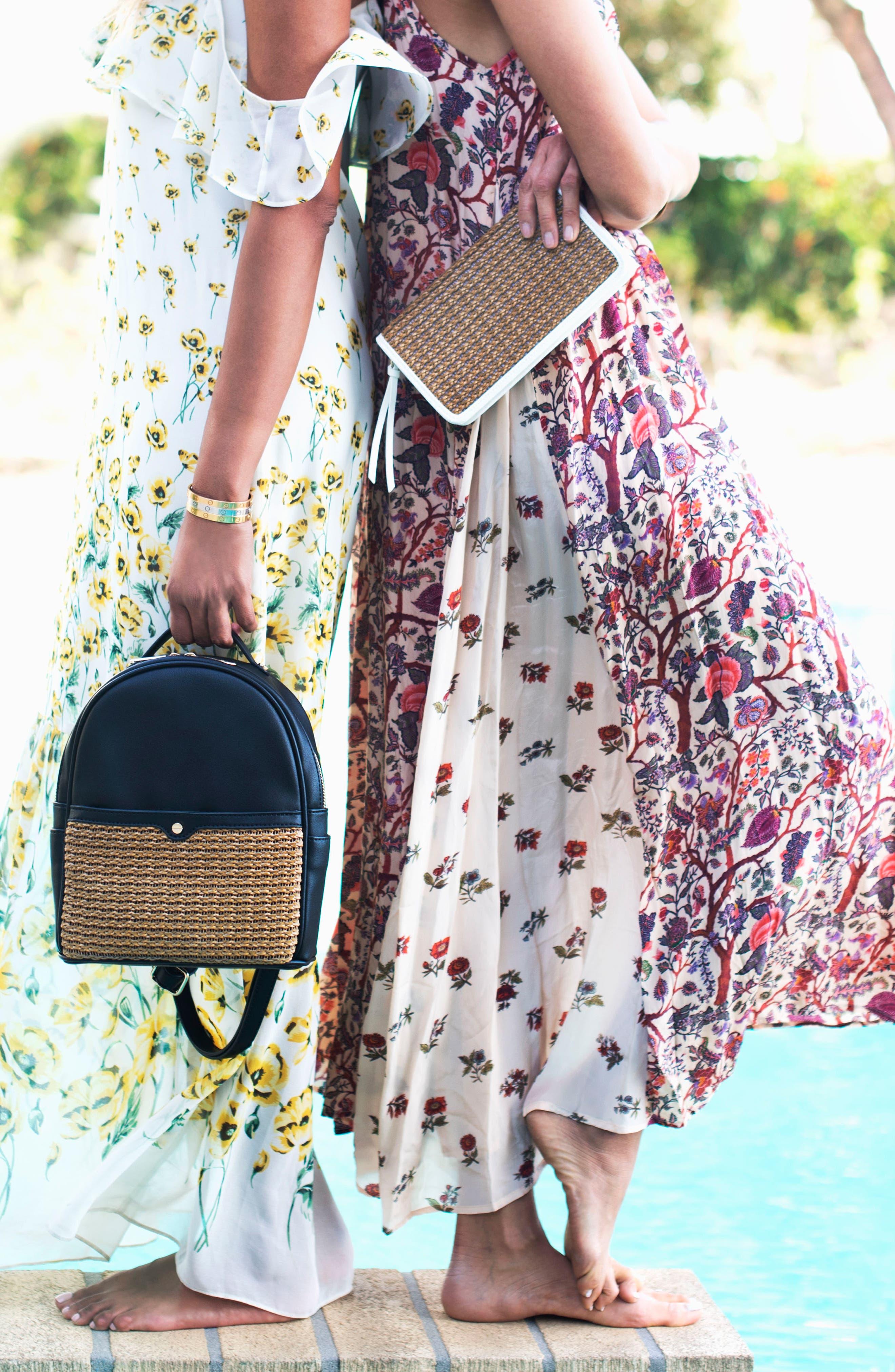 Mali + Lili Harper Lili Basket Weave Backpack,                             Alternate thumbnail 9, color,                             BLACK