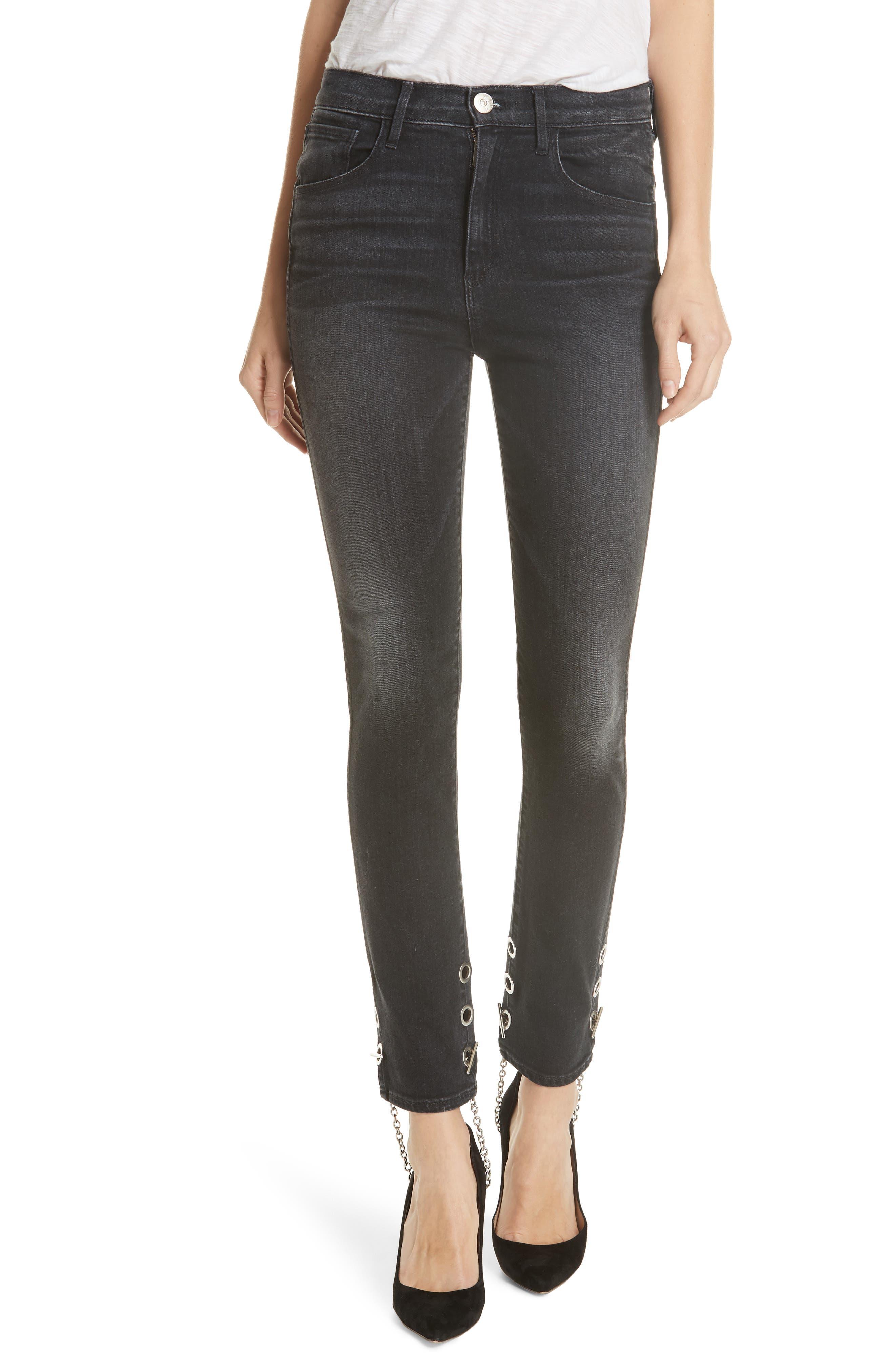 3X1 NYC,                             Bijou Chain Stirrup Ankle Skinny Jeans,                             Main thumbnail 1, color,                             004