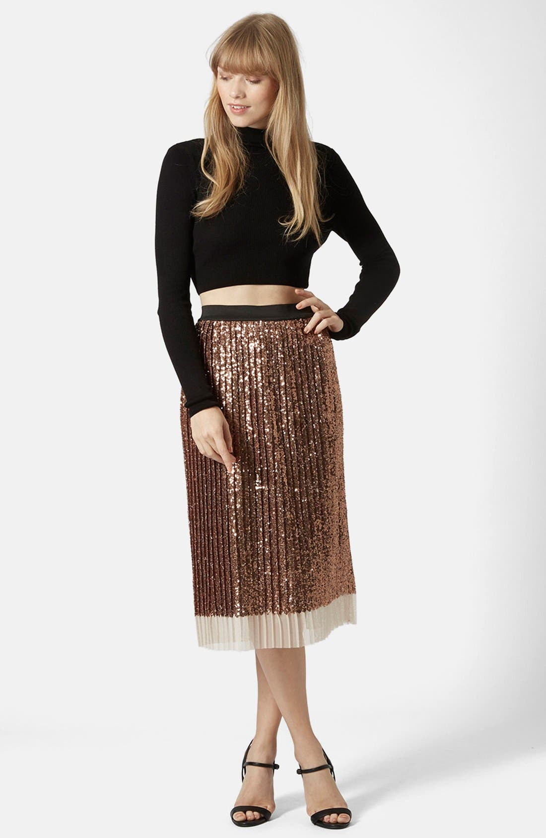 Sequin Pleated Midi Skirt,                             Alternate thumbnail 5, color,                             220
