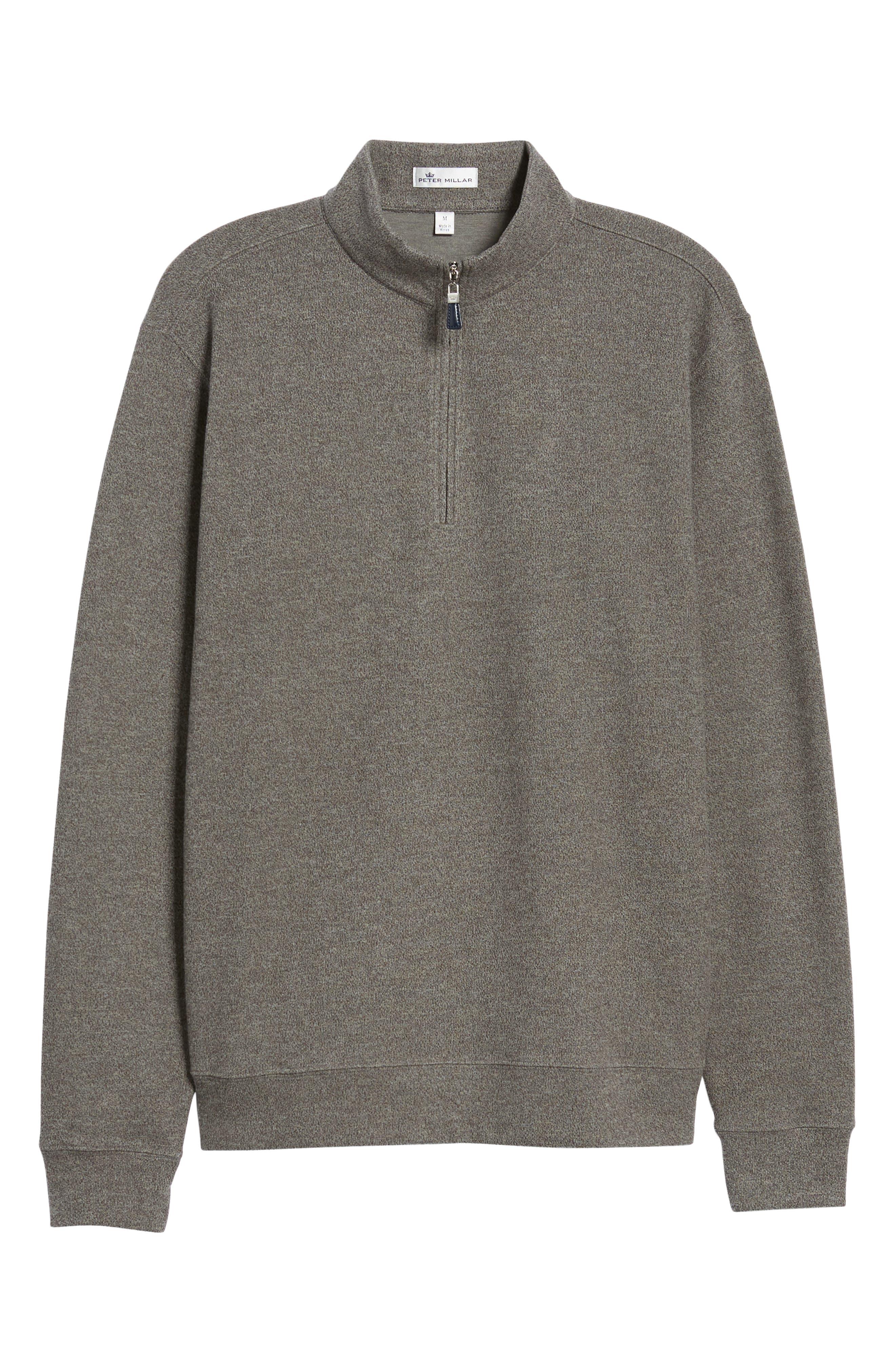 Mélange Fleece Quarter Zip Pullover,                             Alternate thumbnail 6, color,                             SMOKE