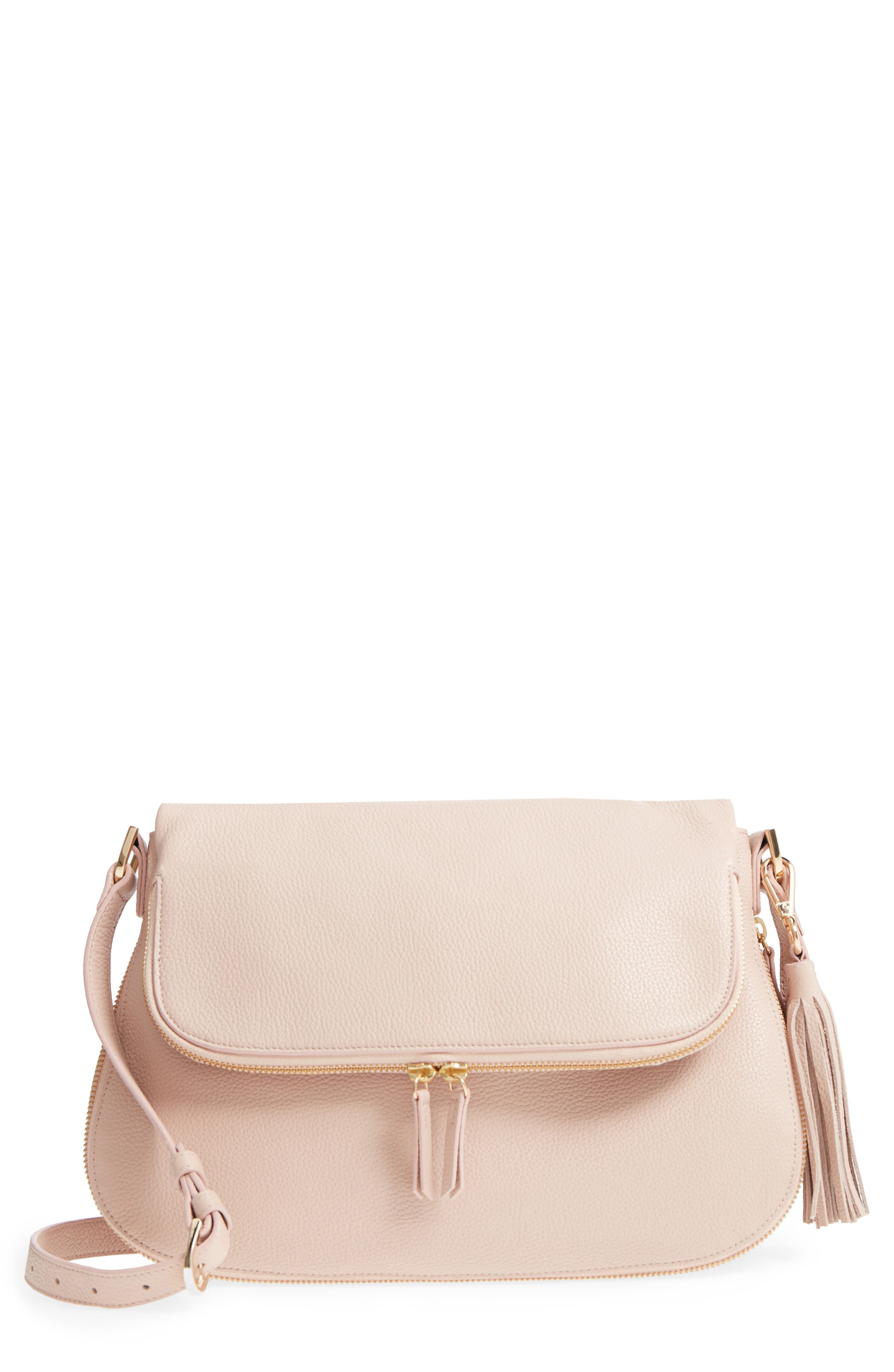 Kara Leather Expandable Crossbody Bag, Main, color, PINK ROSECLOUD
