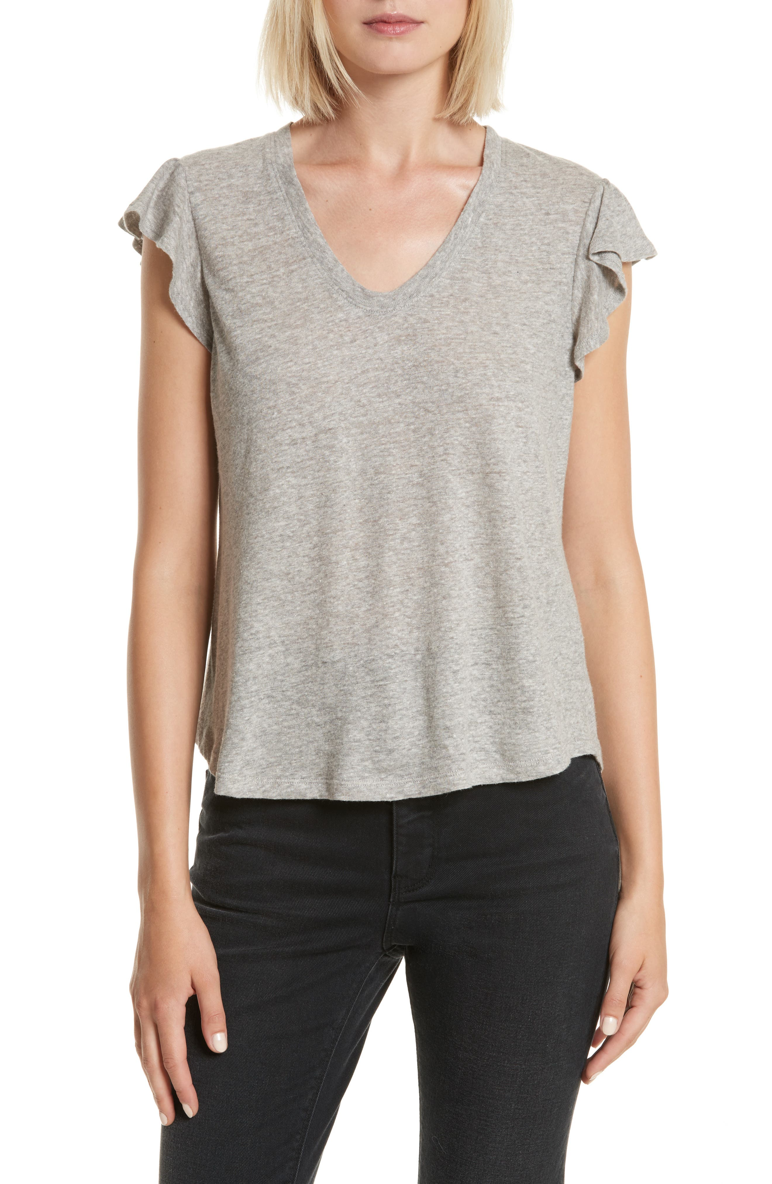 Washed Texture Jersey Tee,                             Main thumbnail 1, color,                             GREY HEATHER