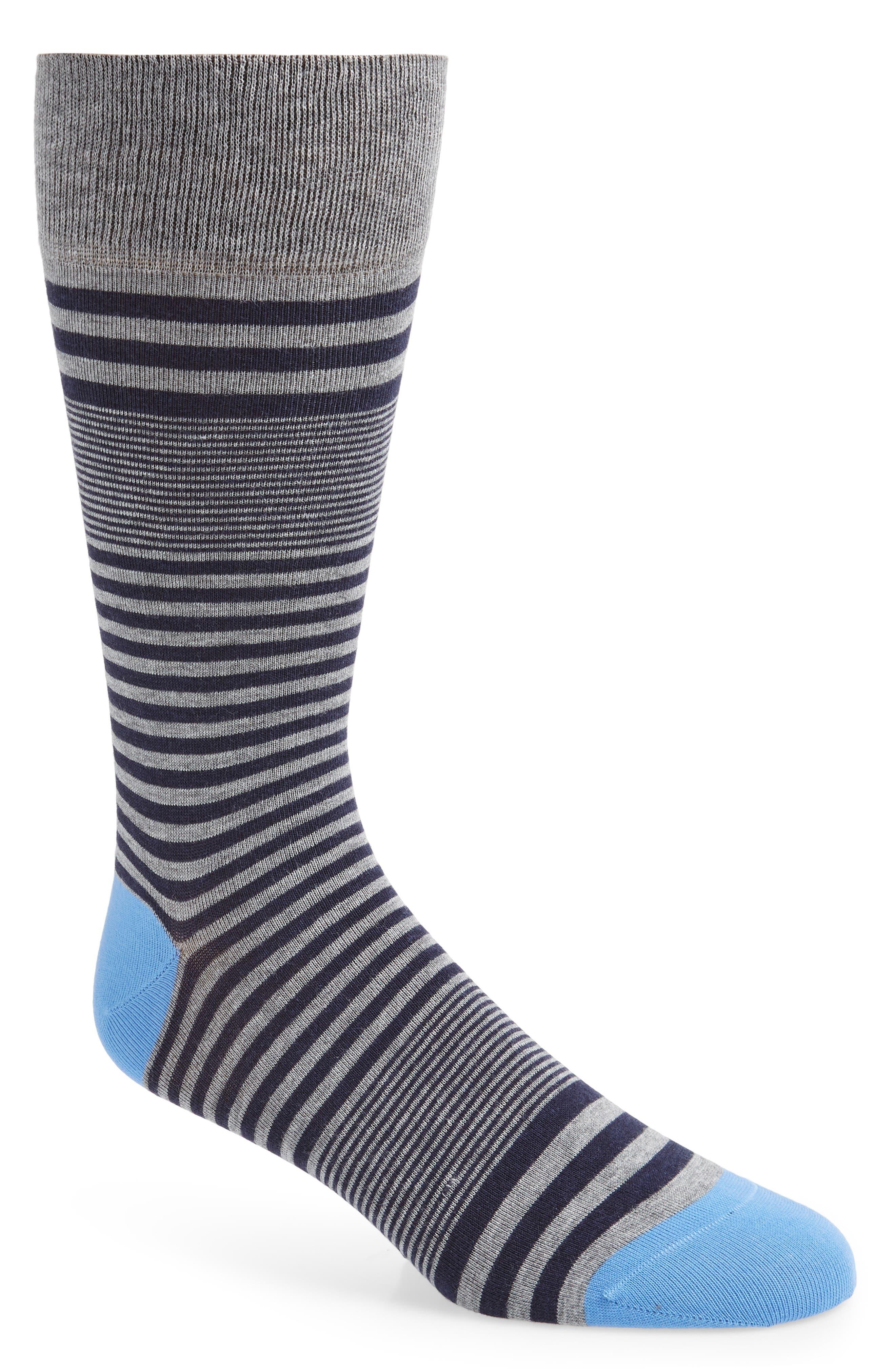 Vintage Men's Socks History-1900 to 1960s Mens Cole Haan Skater Stripe Socks Size One Size - Blue $12.50 AT vintagedancer.com