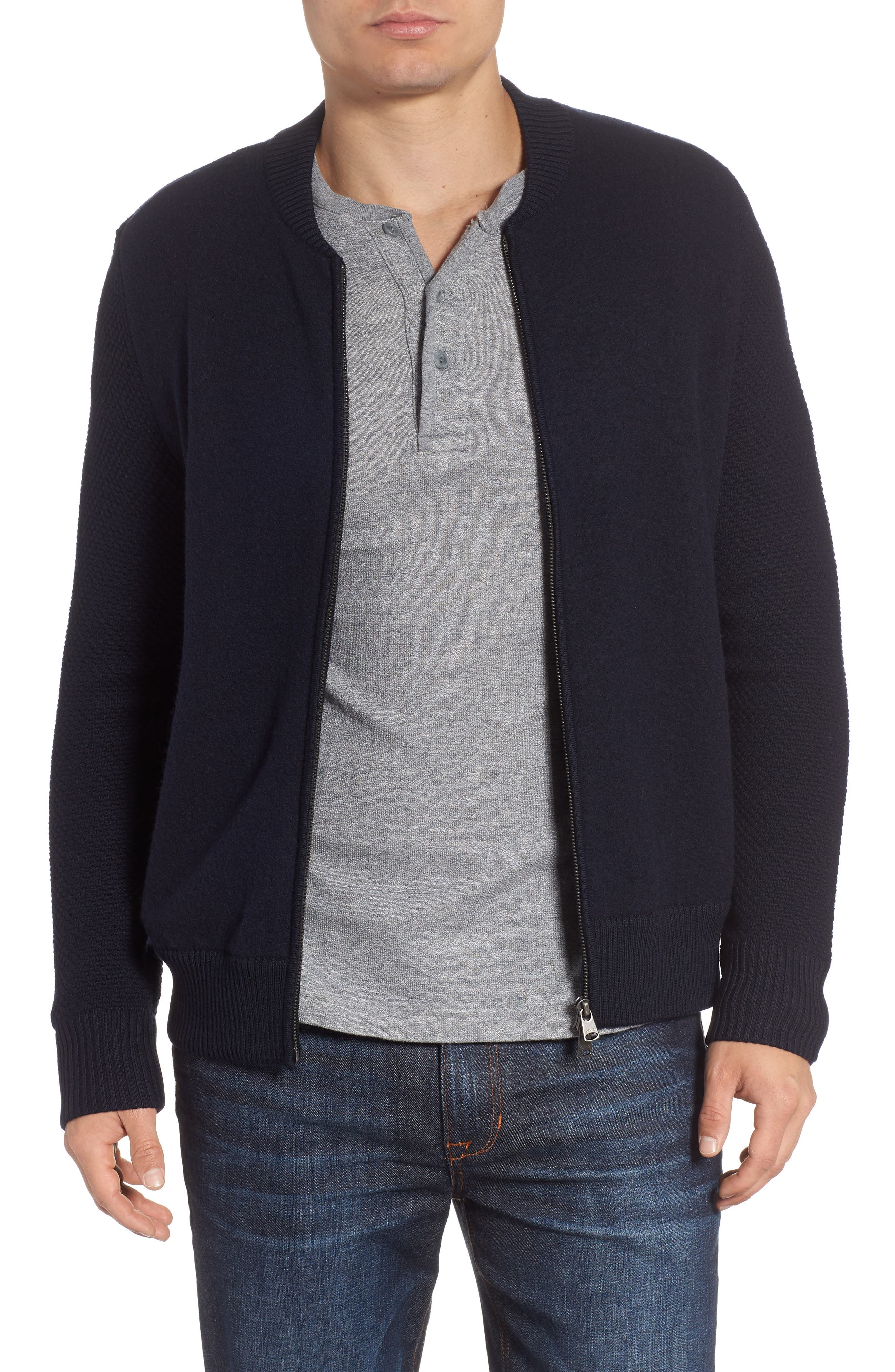 Felted Wool Bomber Jacket,                         Main,                         color, BLUE GRAPHITE