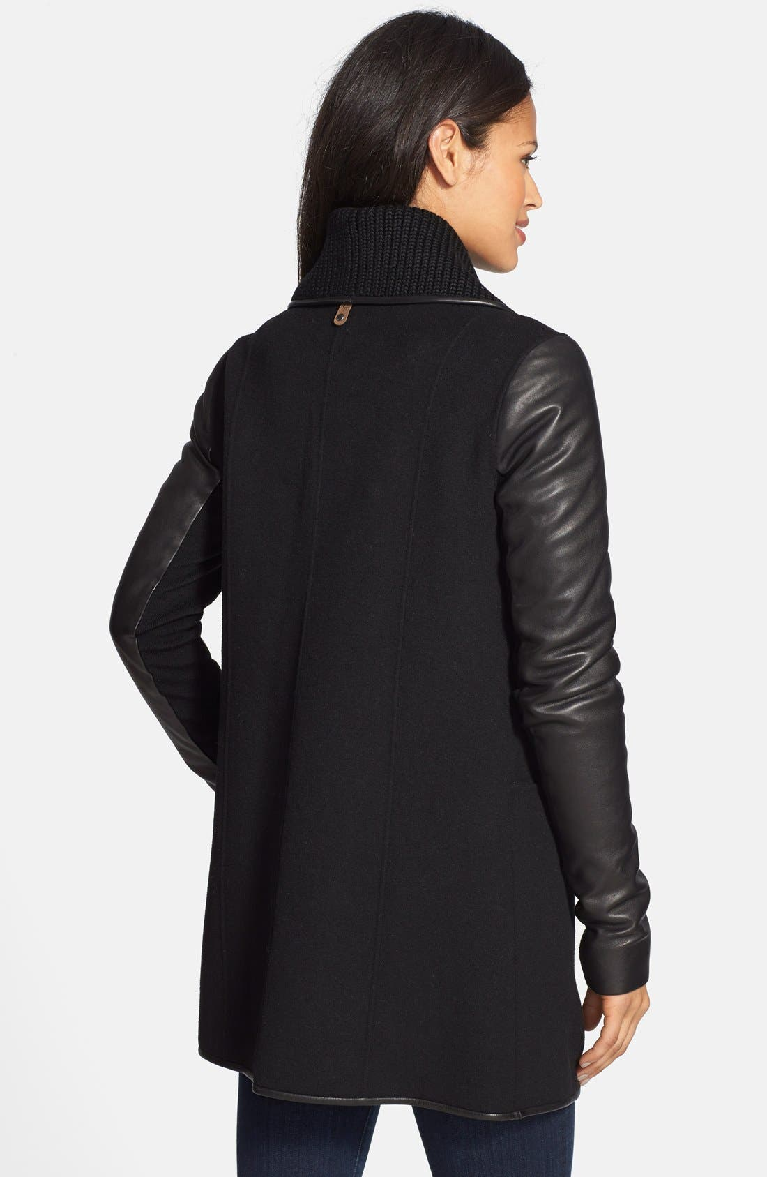 Double Face Wool Blend Coat with Knit Collar & Leather Trim,                             Alternate thumbnail 3, color,                             001