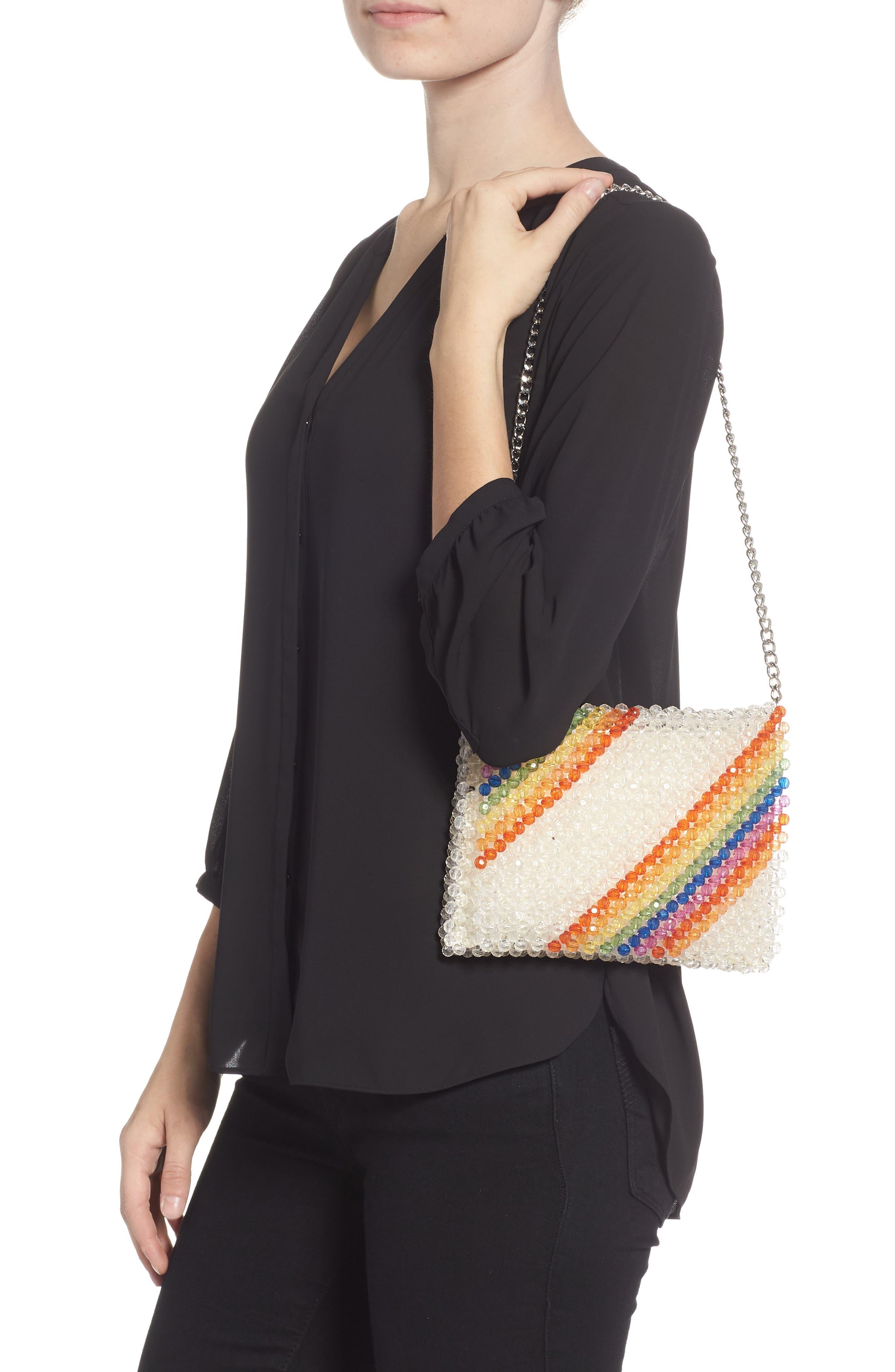 Zizi Beaded Rainbow Shoulder Bag,                             Alternate thumbnail 2, color,                             100