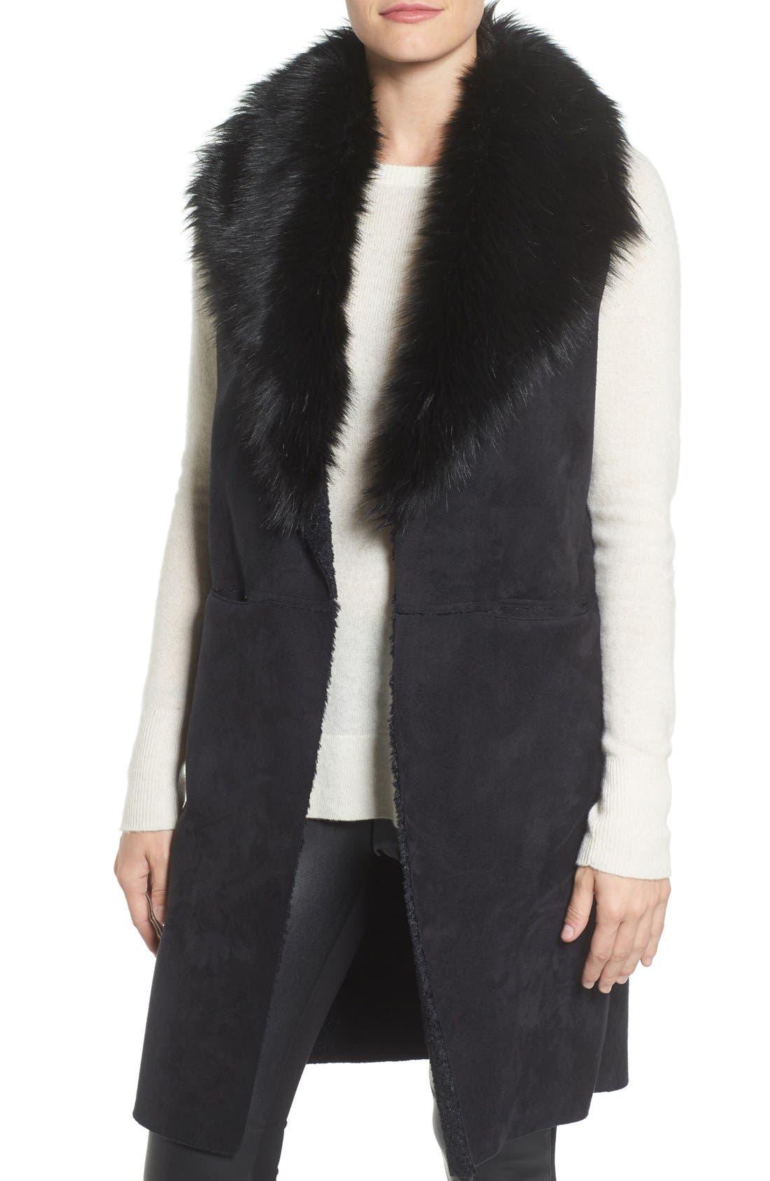 Faux Fur Collar Vest,                             Main thumbnail 1, color,                             002