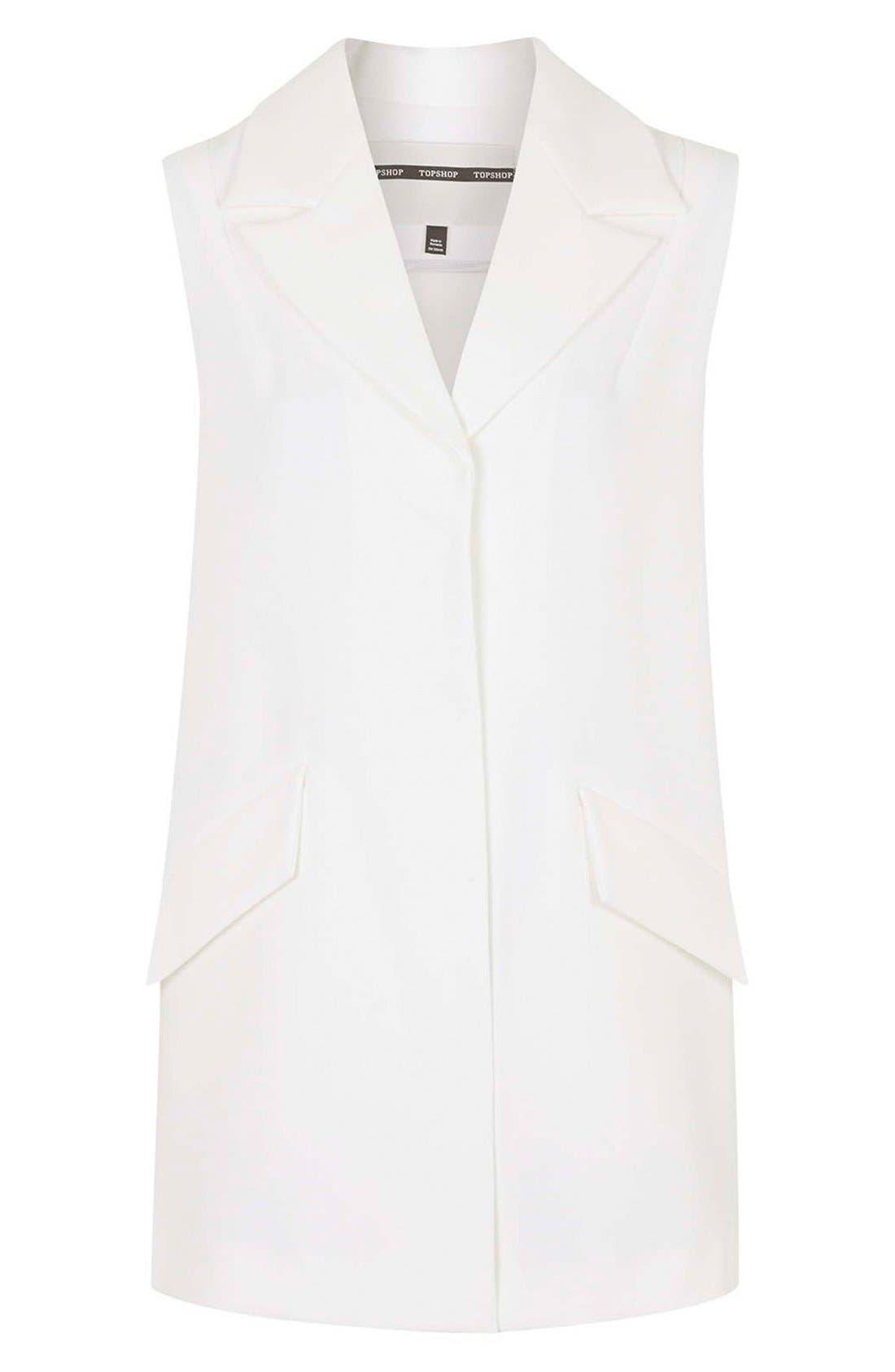 Swingy Crepe Vest,                             Alternate thumbnail 5, color,                             100