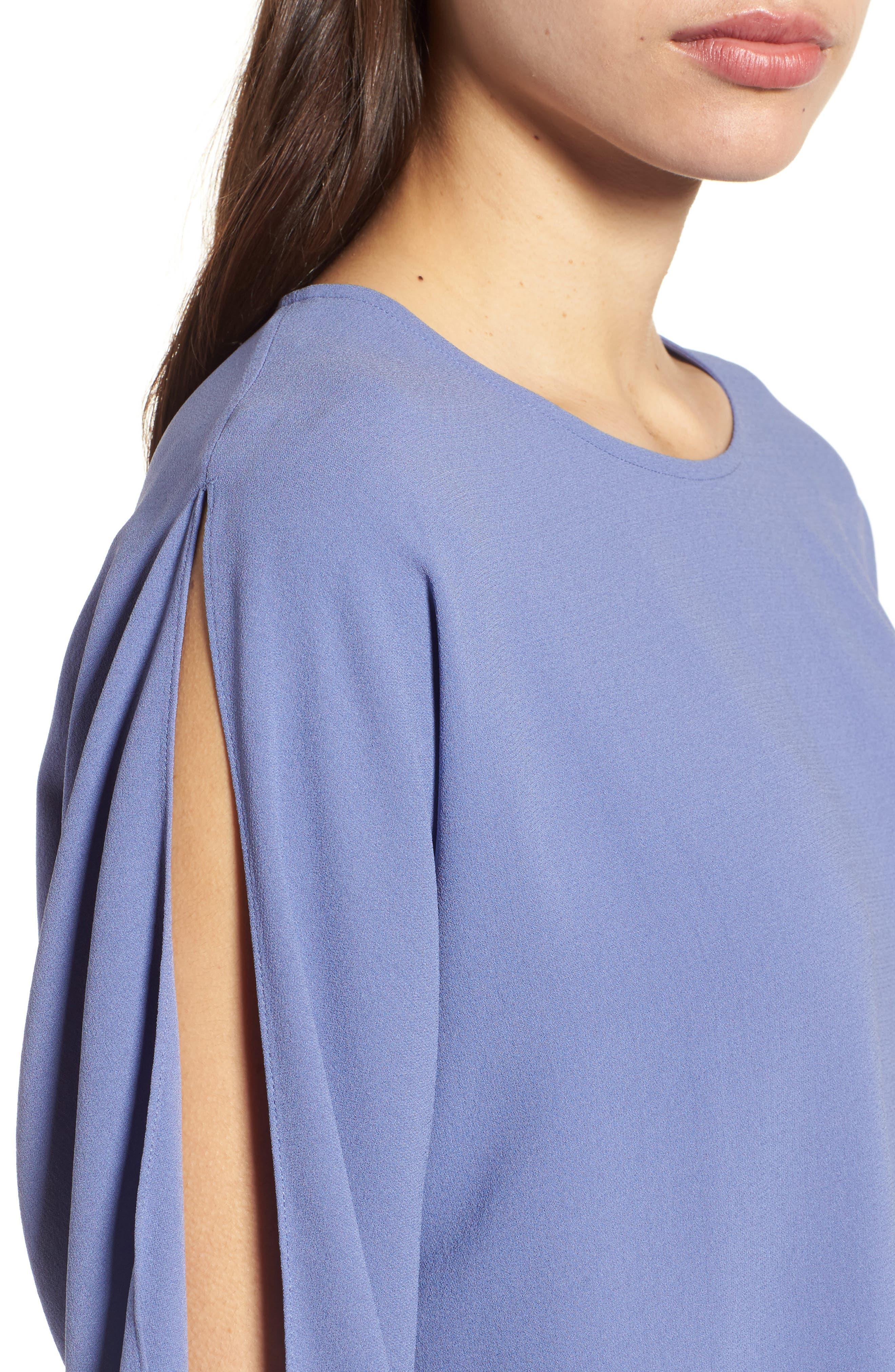 Slit Sleeve Silk Top,                             Alternate thumbnail 12, color,