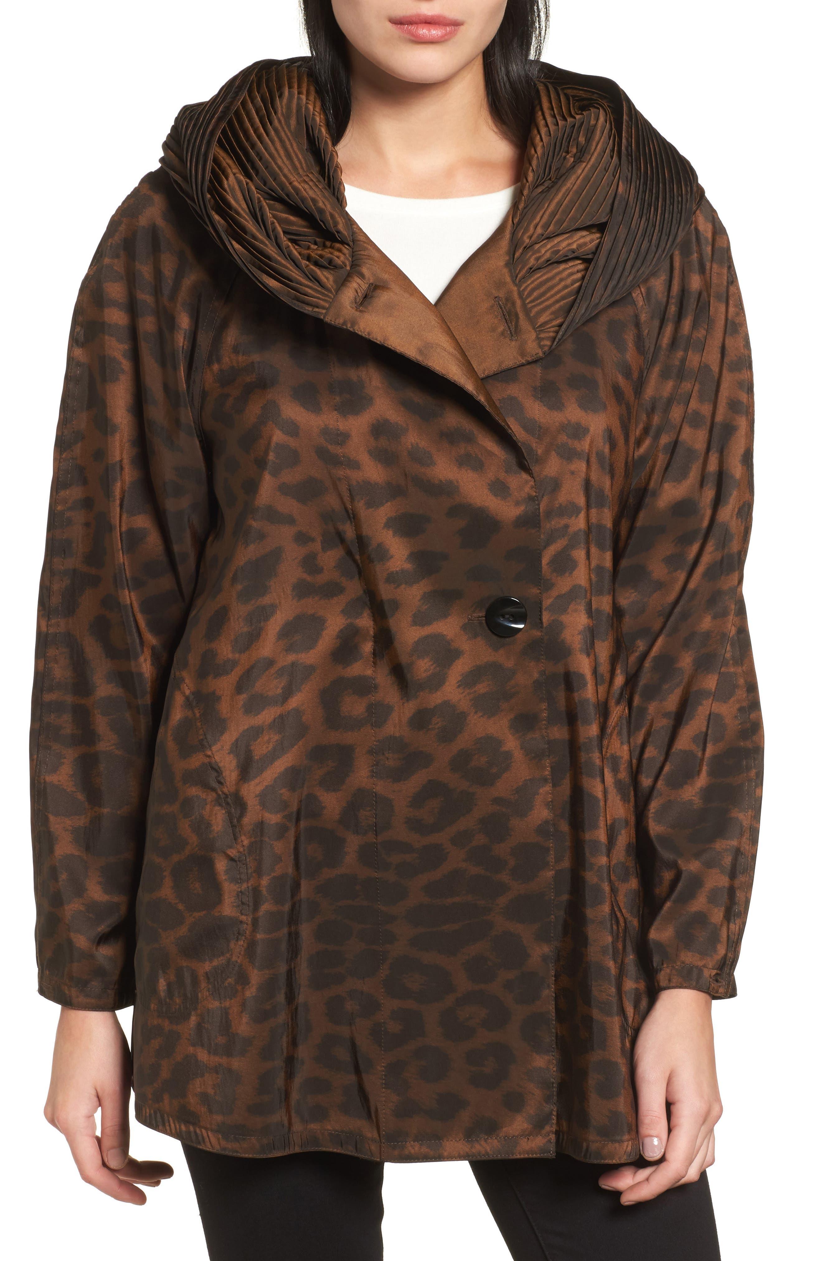 'Mini Donatella Leopard' Reversible Pleat Hood Packable Travel Coat,                         Main,                         color, 202