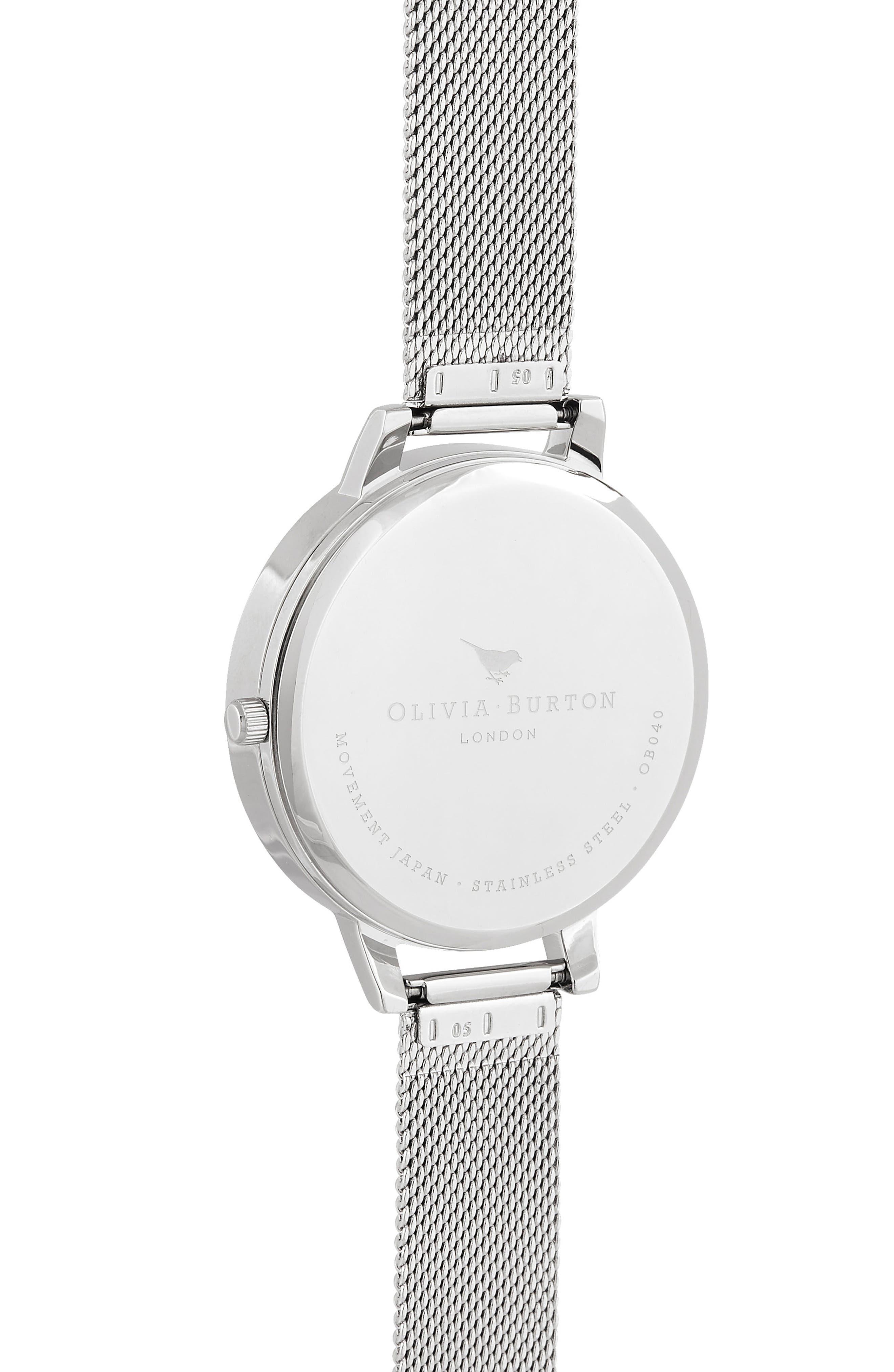 Bracelet Watch, 30mm,                             Alternate thumbnail 3, color,                             SILVER/ ROSE QUARTZ/ SILVER